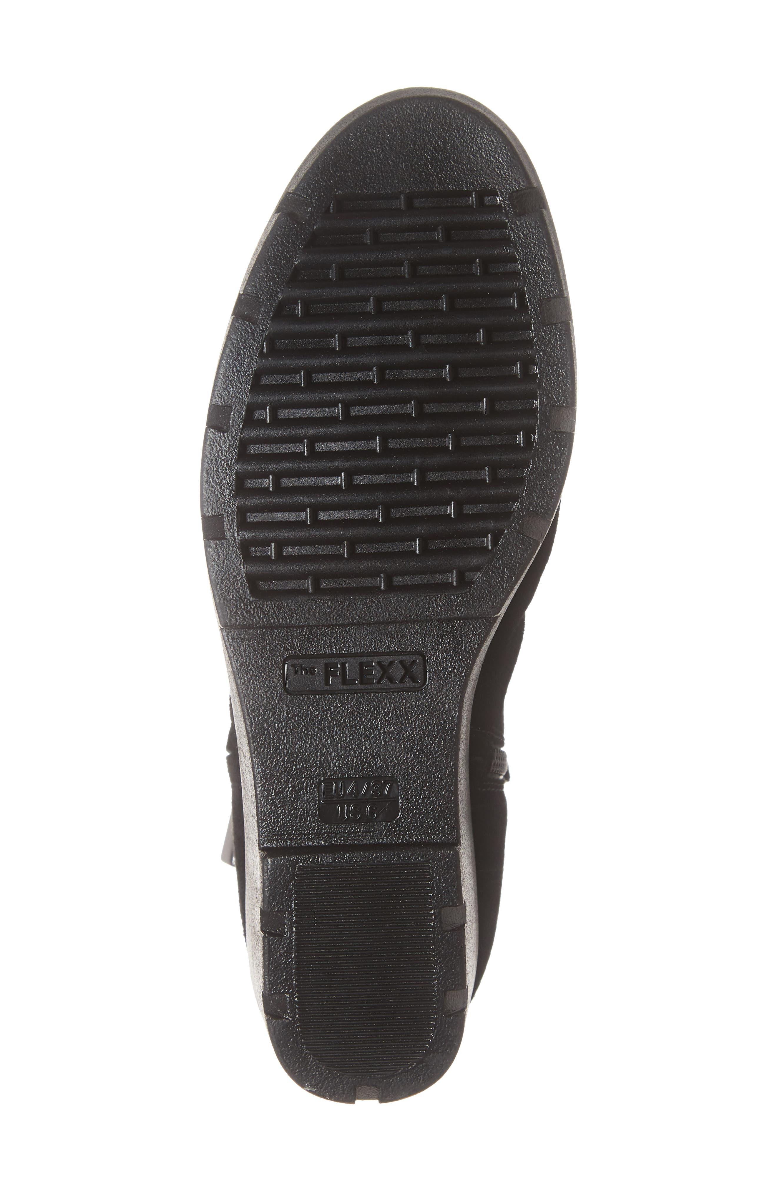 THE FLEXX, Slingshot Ankle Bootie, Alternate thumbnail 6, color, BLACK WATERPROOF SUEDE