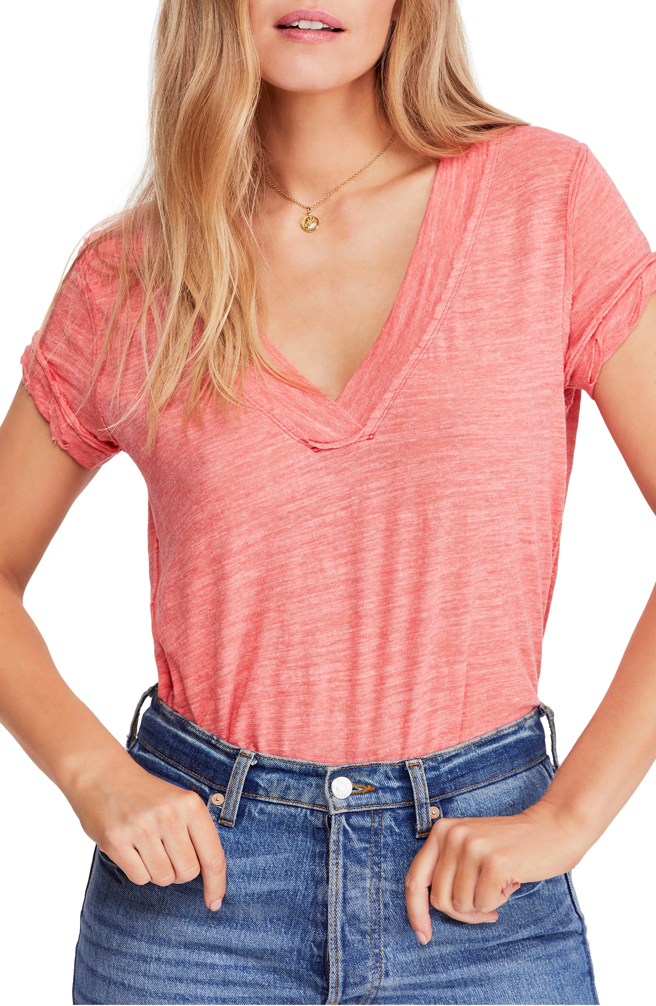 FREE PEOPLE, V-Neck Tee, Main thumbnail 1, color, RED