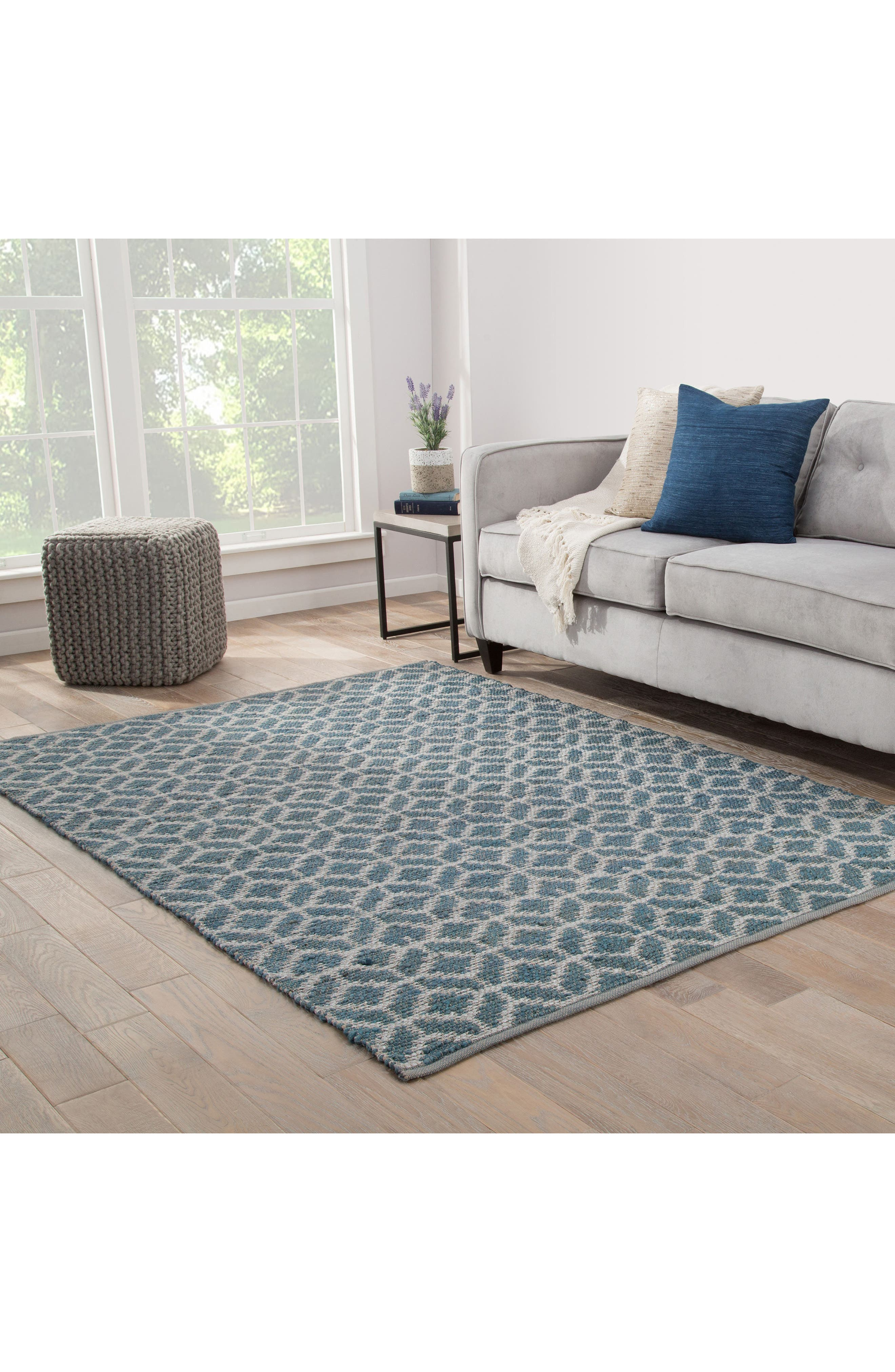 JAIPUR, Calm Waters Rug, Alternate thumbnail 8, color, INDIAN TEAL/ SILVER