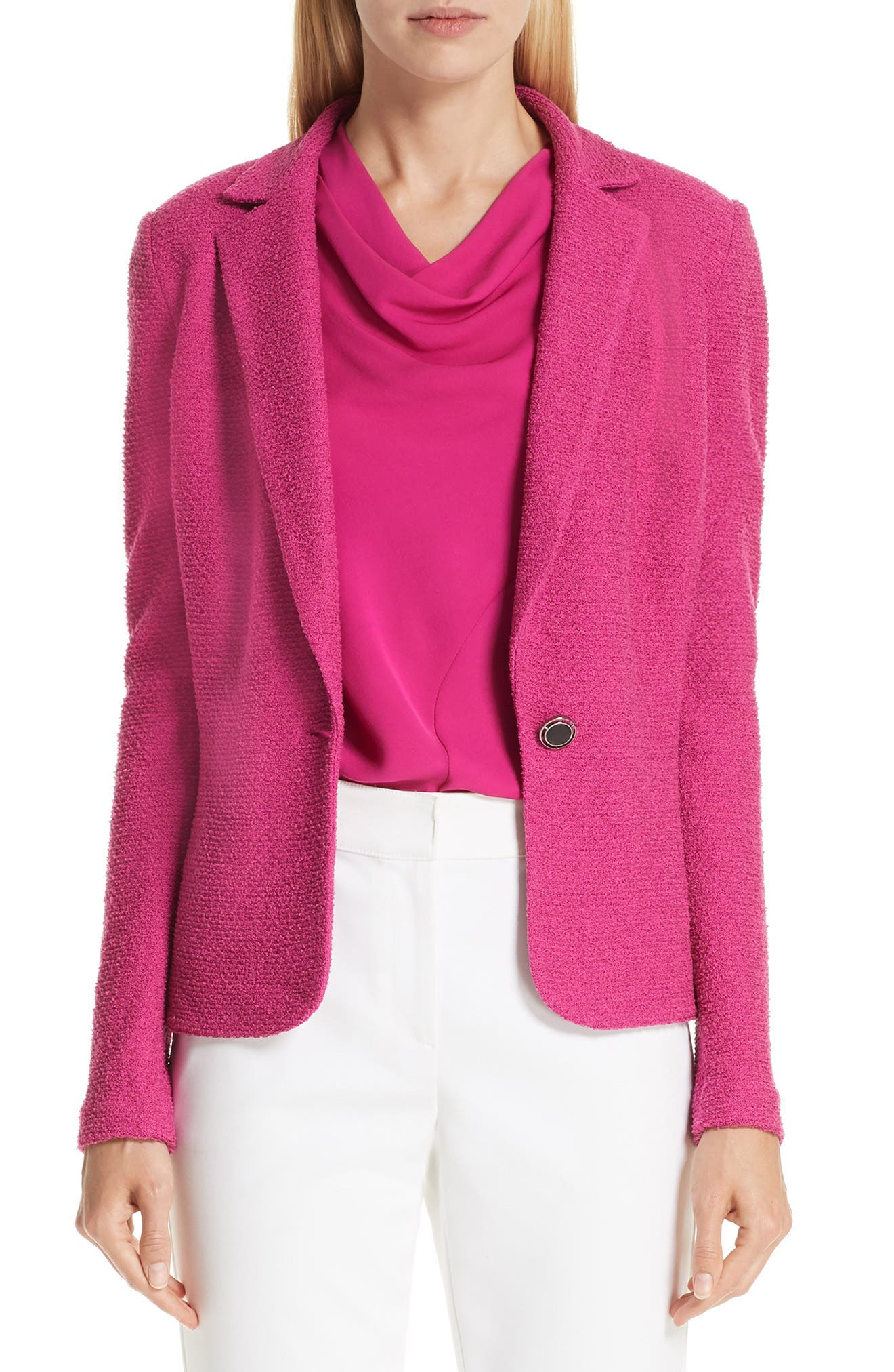 ST. JOHN COLLECTION, Refined Knit Jacket, Main thumbnail 1, color, CAMELLIA