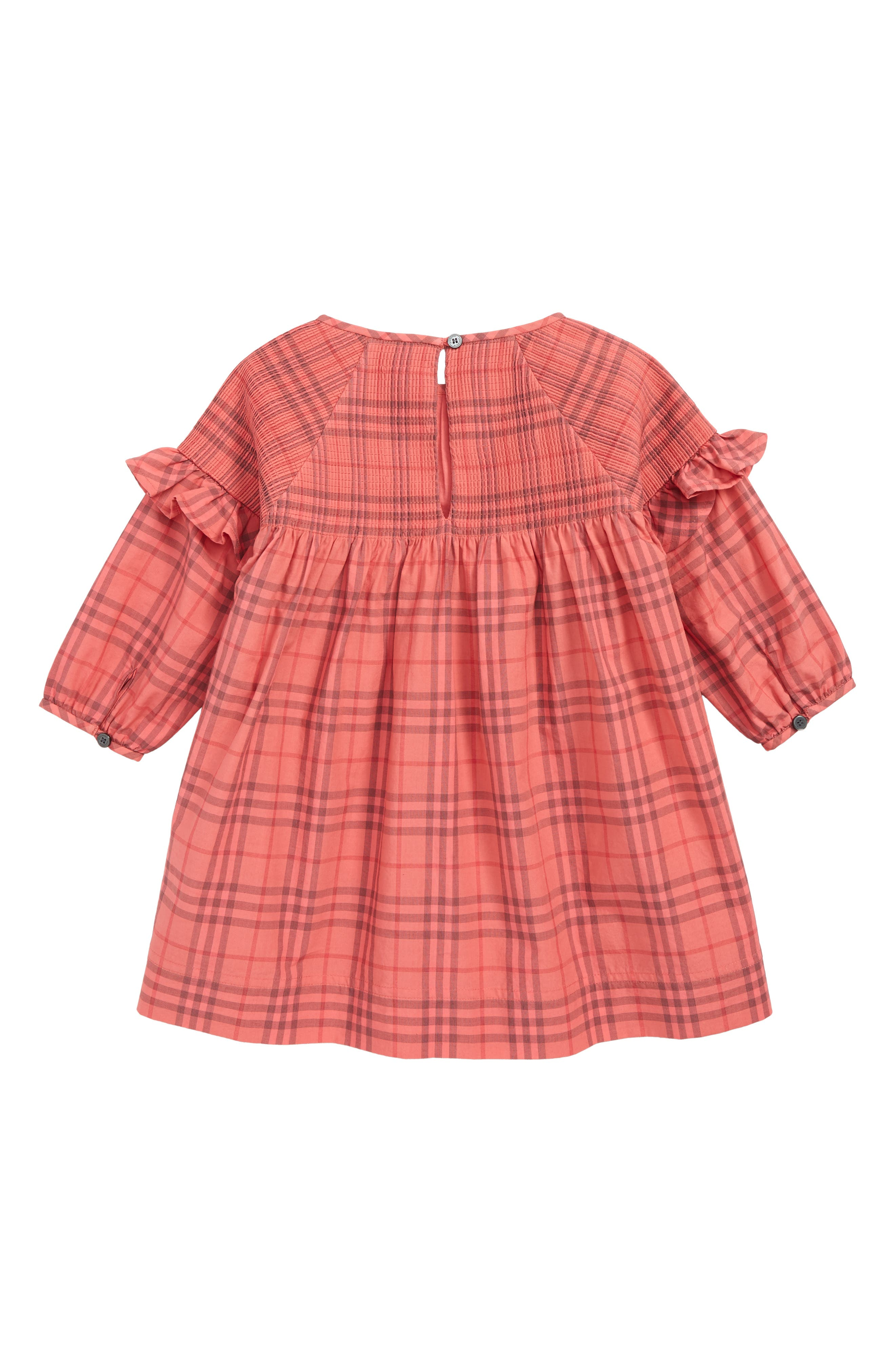 BURBERRY, Mini Loralie Ruffle Detail Check Cotton Dress, Alternate thumbnail 2, color, CORAL RED