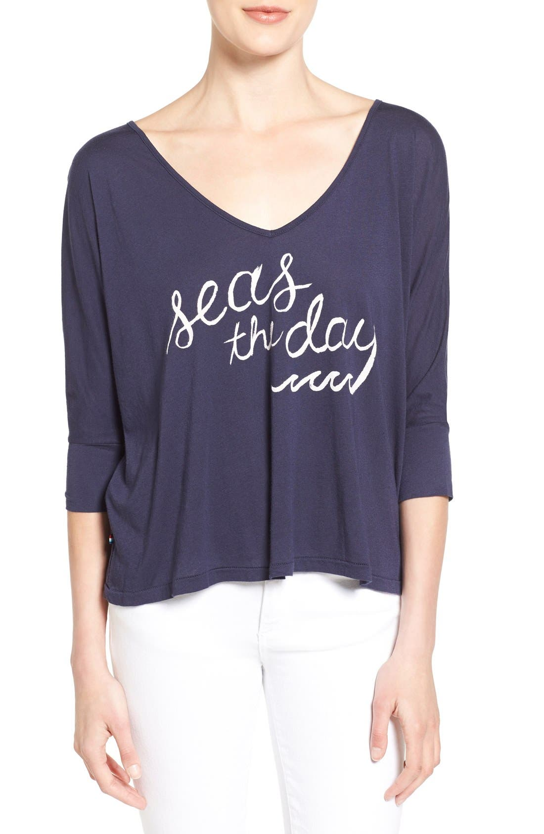 SOL ANGELES 'Seas the Day' Drapey V-Neck Tee, Main, color, 401