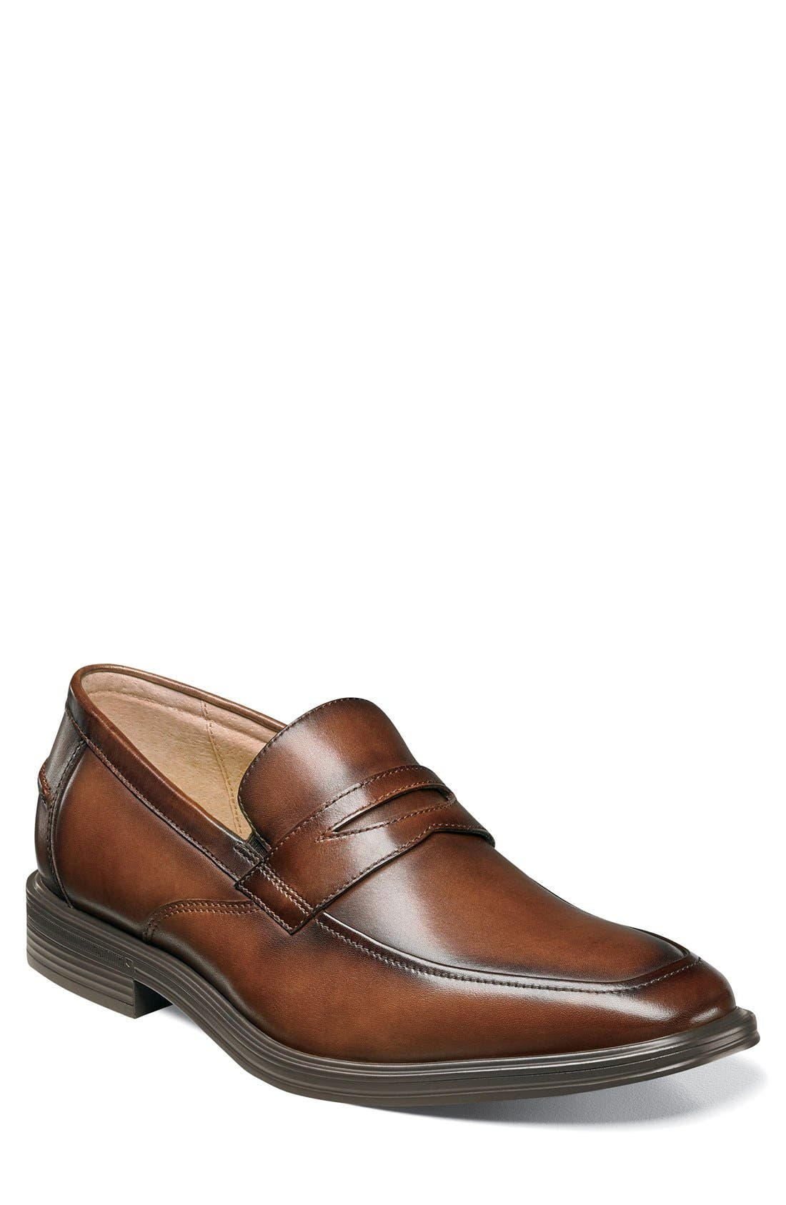 FLORSHEIM, 'Heights' Penny Loafer, Main thumbnail 1, color, COGNAC LEATHER