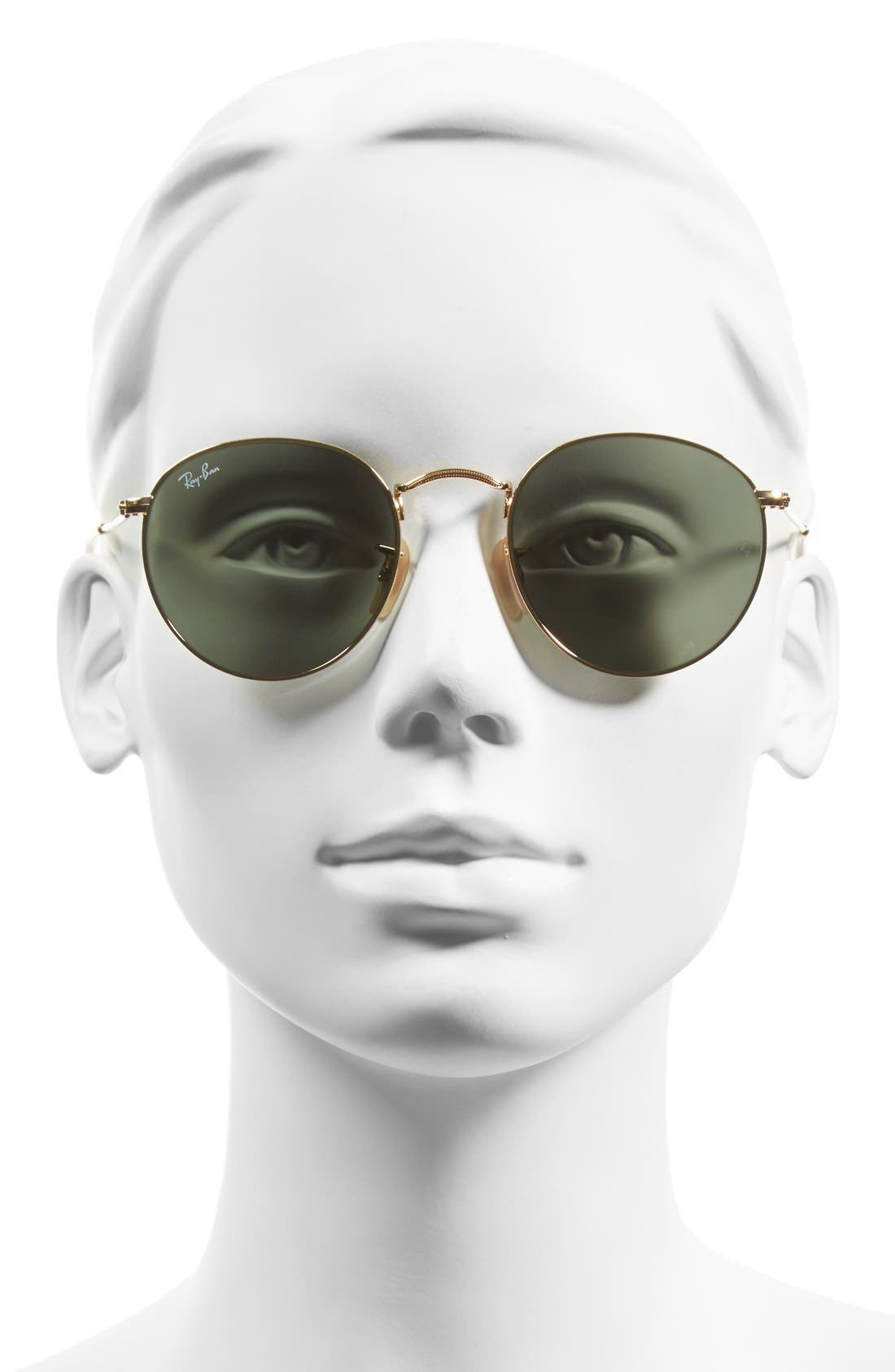 RAY-BAN, Icons 50mm Round Metal Sunglasses, Alternate thumbnail 2, color, GOLD/ GREEN