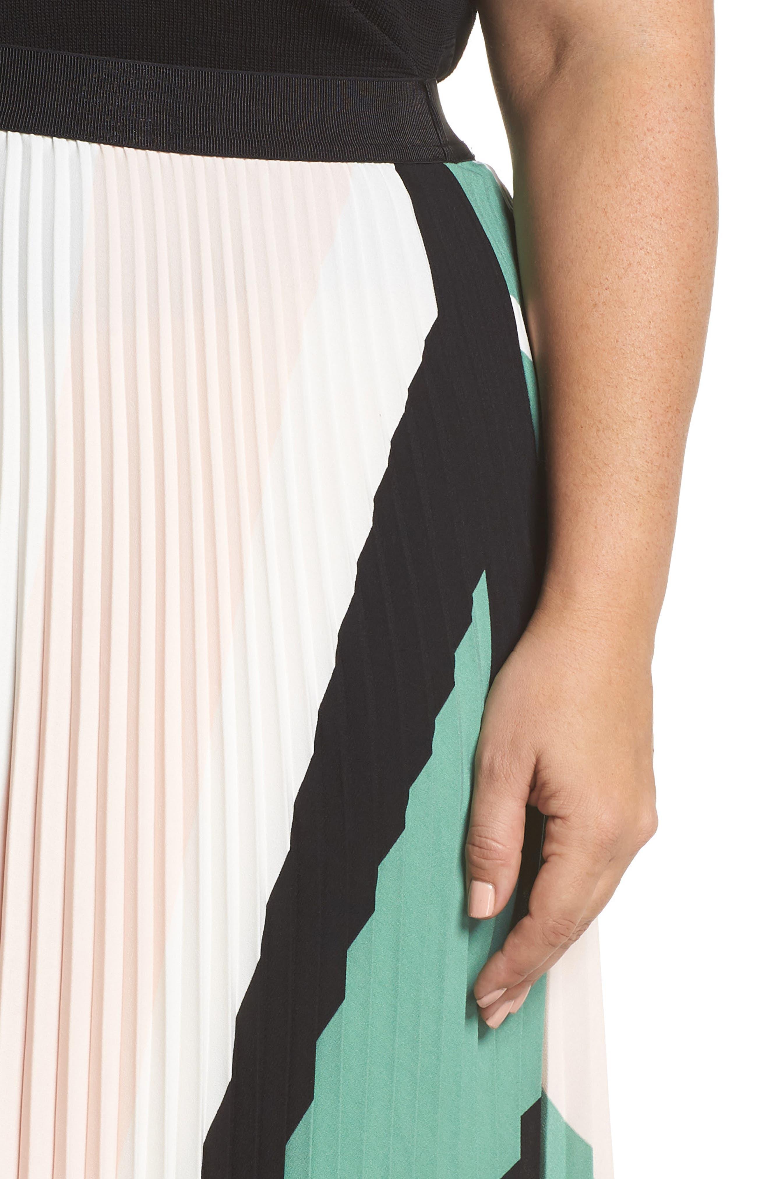 LEITH, Pleated Midi Skirt, Alternate thumbnail 10, color, PINK CHINTZ TRIANGLE STRIPE