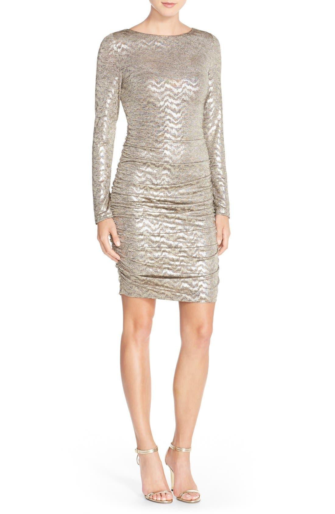 VINCE CAMUTO, Metallic Jersey Body-Con Dress, Alternate thumbnail 6, color, 710
