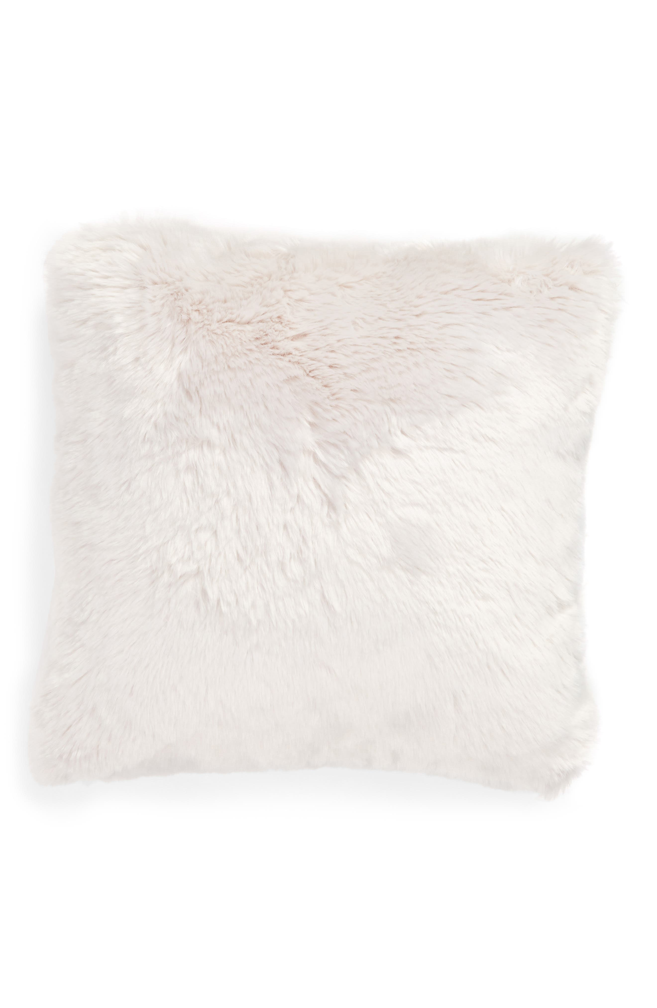 NORDSTROM AT HOME, Cuddle Up Faux Fur Pillow, Alternate thumbnail 2, color, GREY FOG