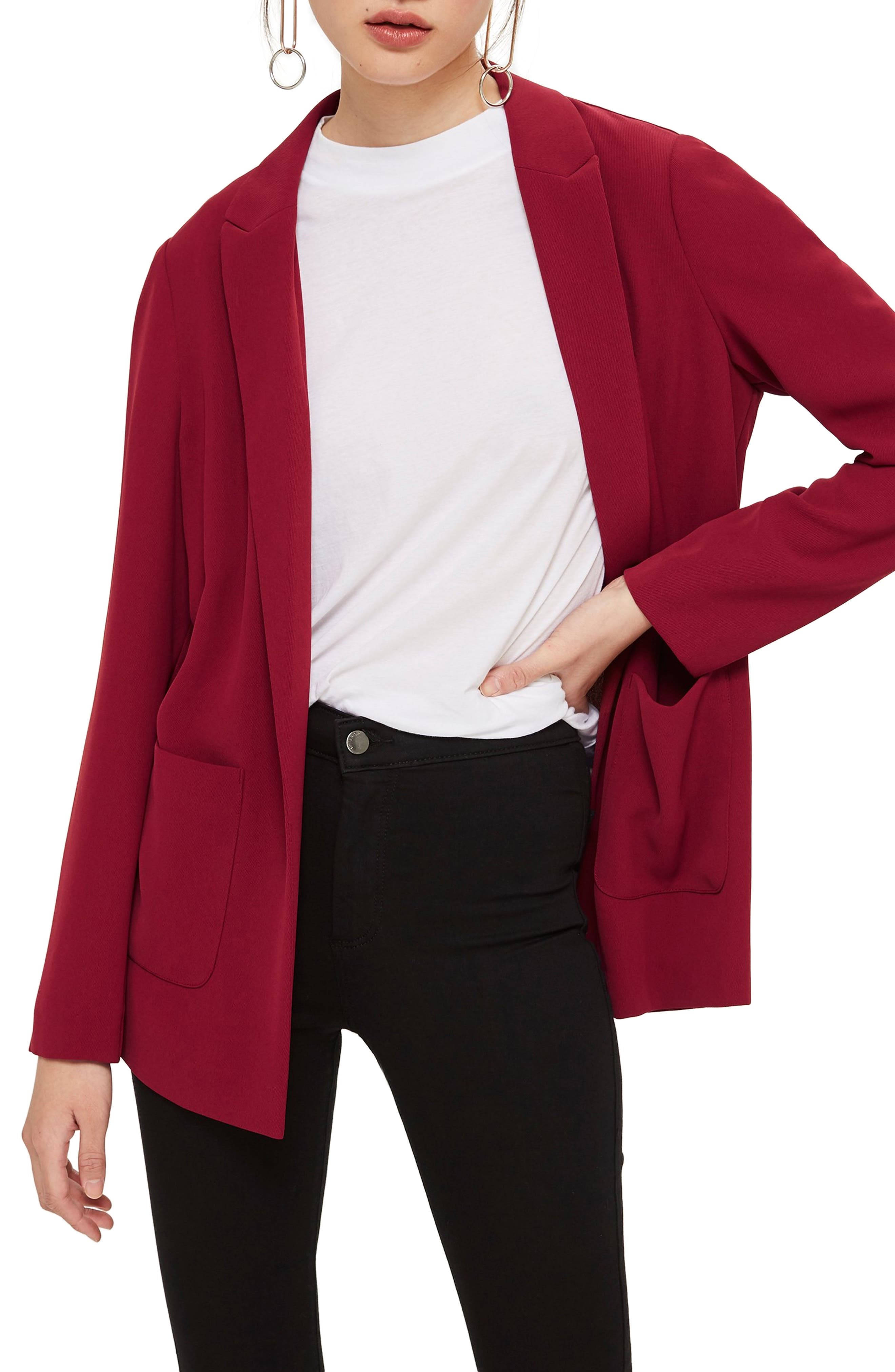TOPSHOP, Chuck On Blazer, Main thumbnail 1, color, RED