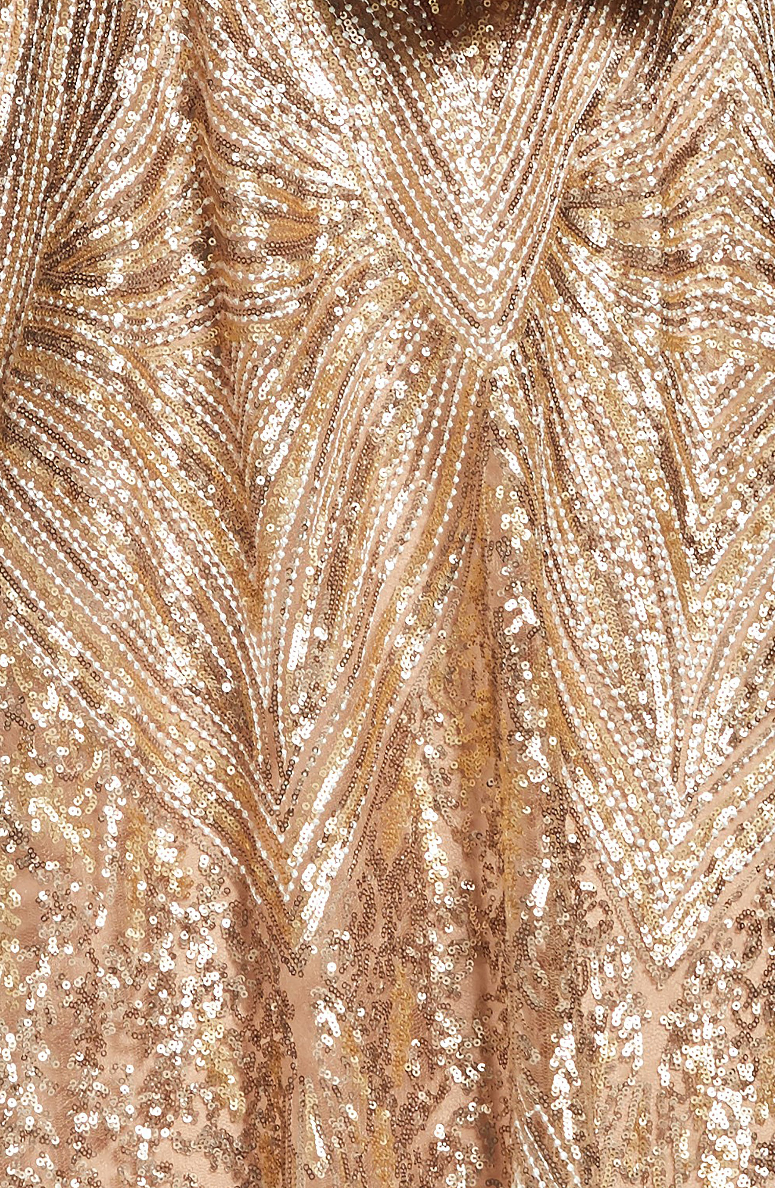 DRESS THE POPULATION, Sarah Sequin Strapless Fit & Flare Dress, Alternate thumbnail 5, color, GOLD/ BRASS