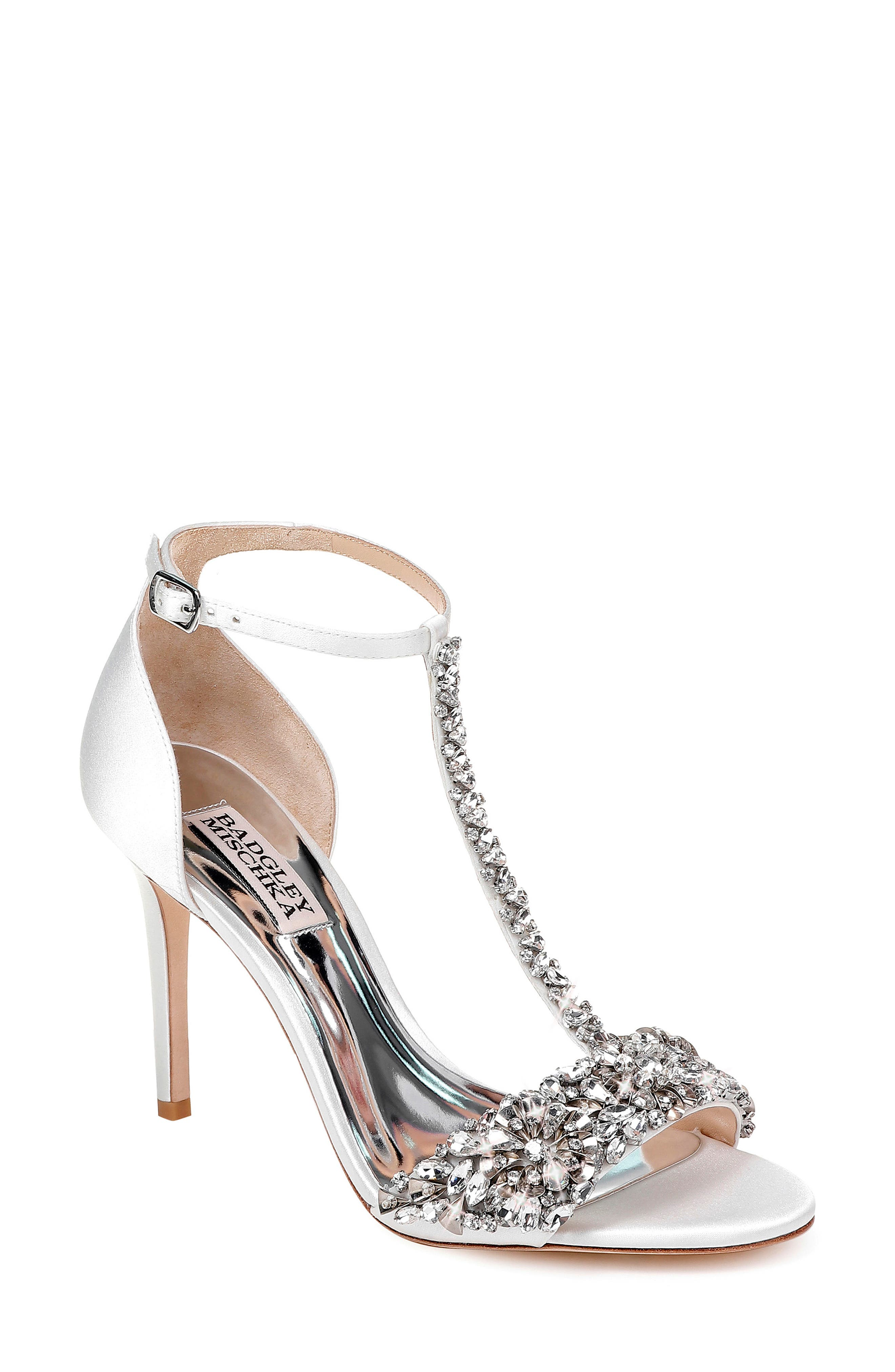 BADGLEY MISCHKA COLLECTION, Badgley Mischka Crystal Embellished Sandal, Main thumbnail 1, color, SOFT WHITE SATIN