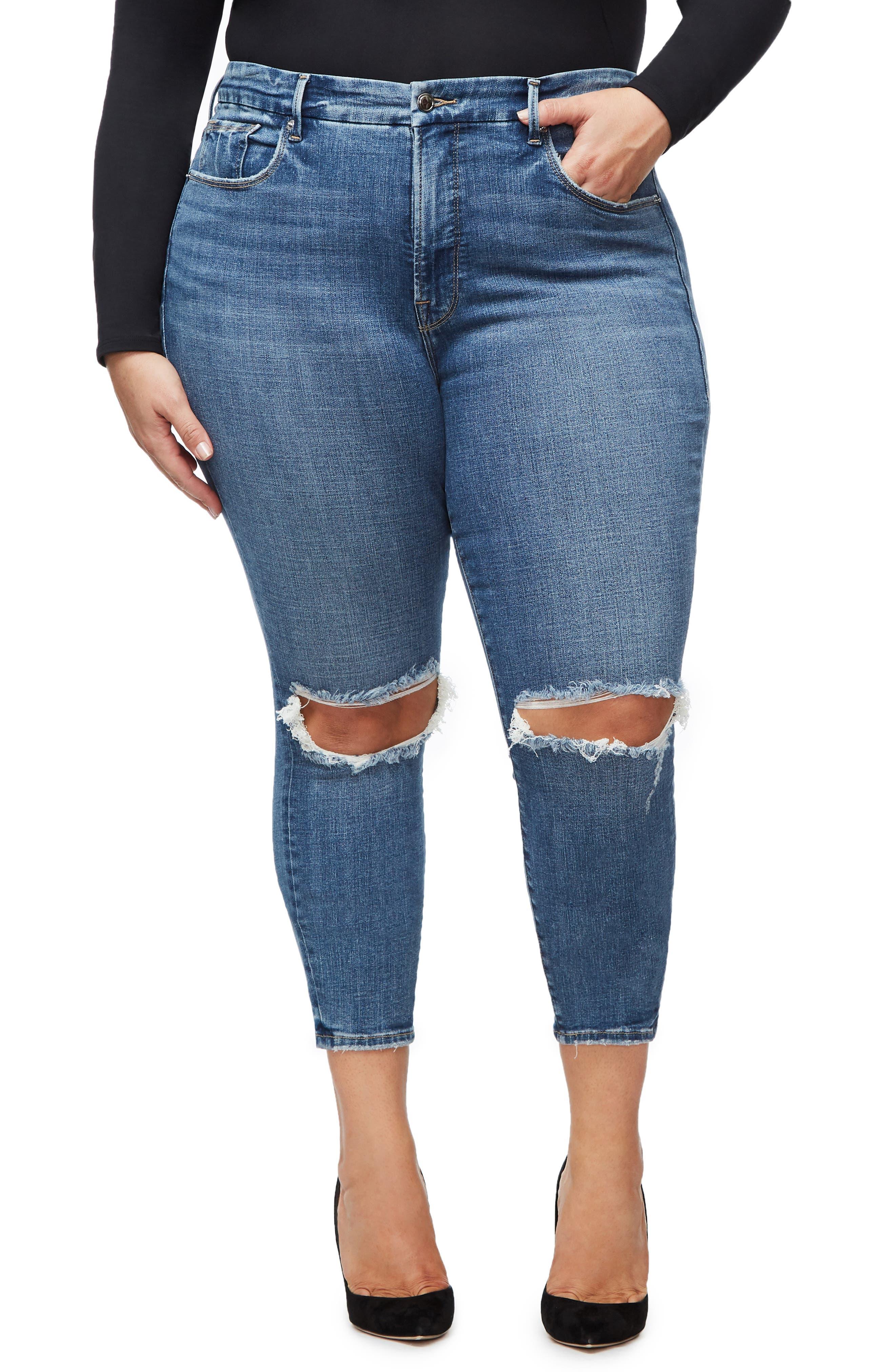 GOOD AMERICAN, Good Legs High Waist Crop Skinny Jeans, Alternate thumbnail 2, color, BLUE 261