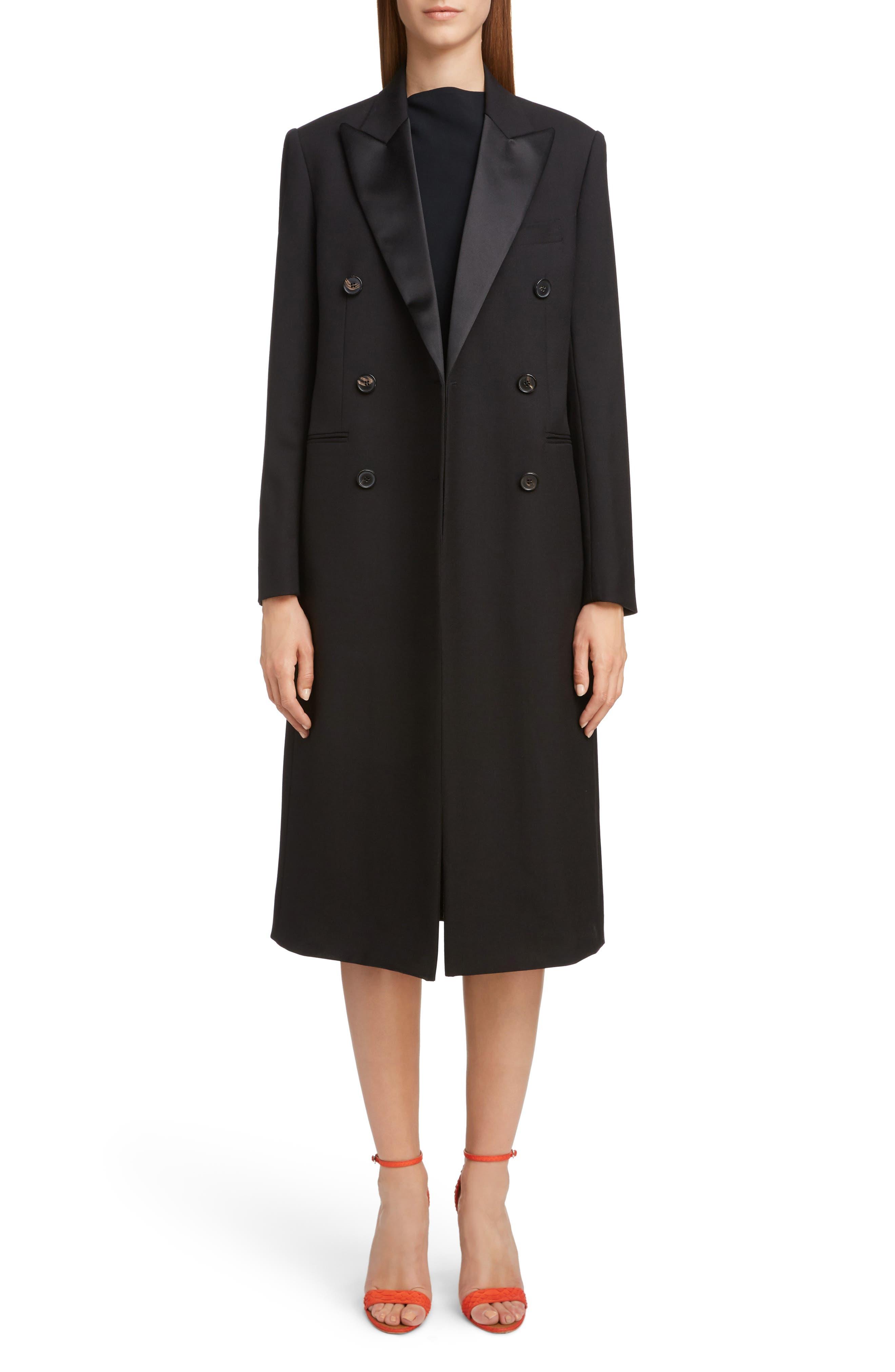 VICTORIA BECKHAM, Wool & Mohair Tuxedo Coat, Alternate thumbnail 6, color, BLACK