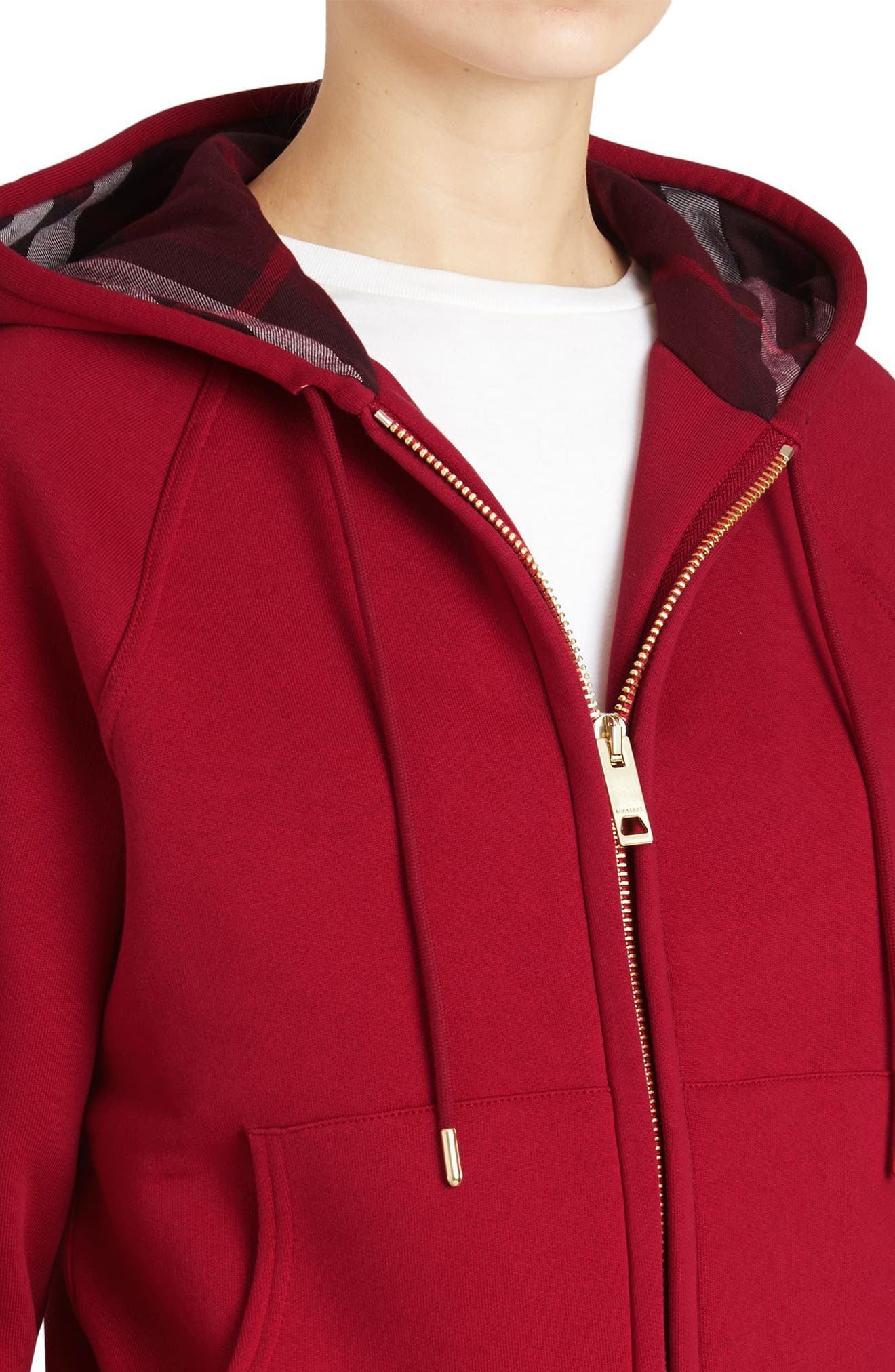 BURBERRY, Check Print Hoodie, Alternate thumbnail 4, color, PARADE RED