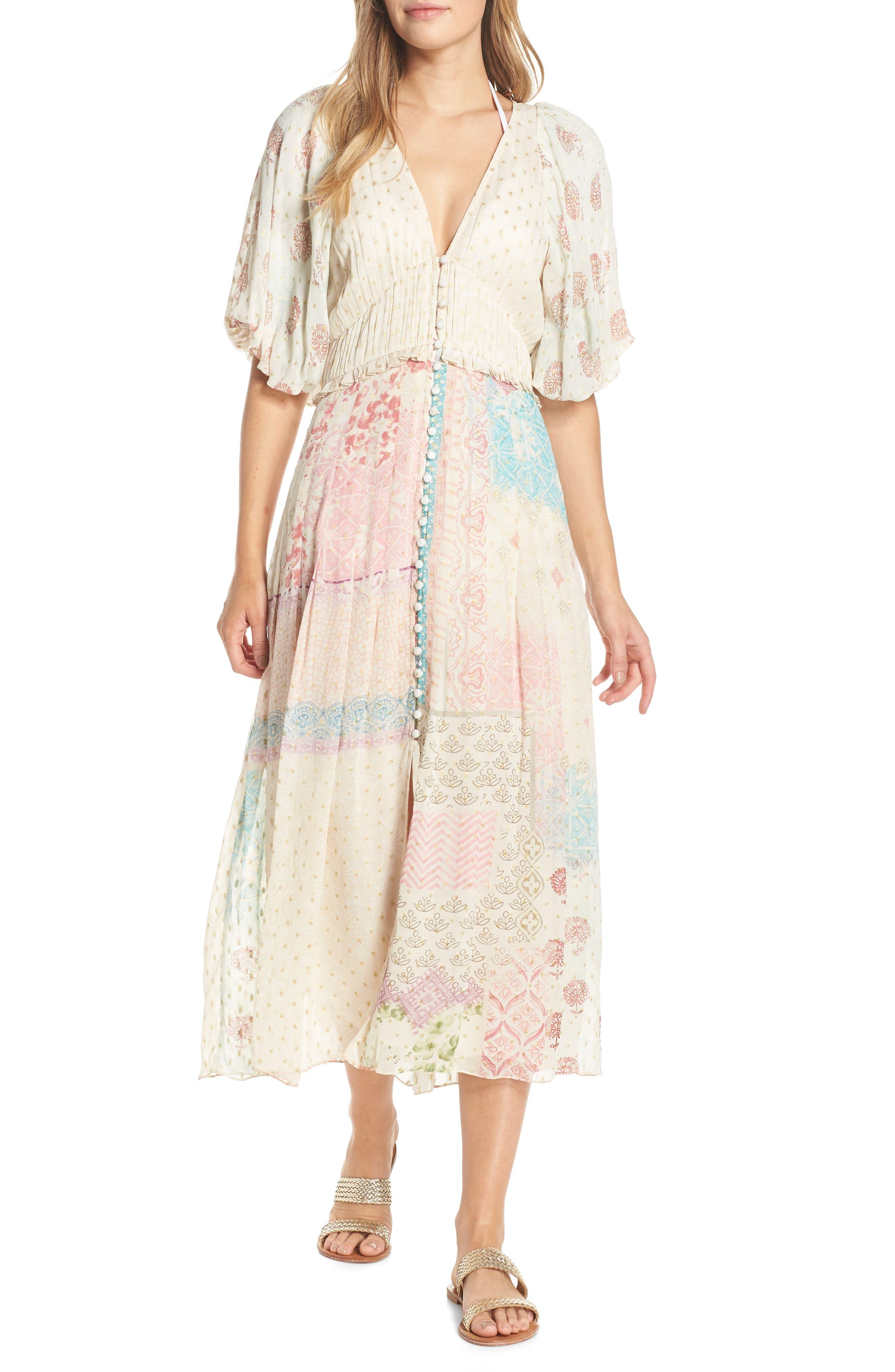 HEMANT & NANDITA, Cover-Up Maxi Dress, Main thumbnail 1, color, PASTEL