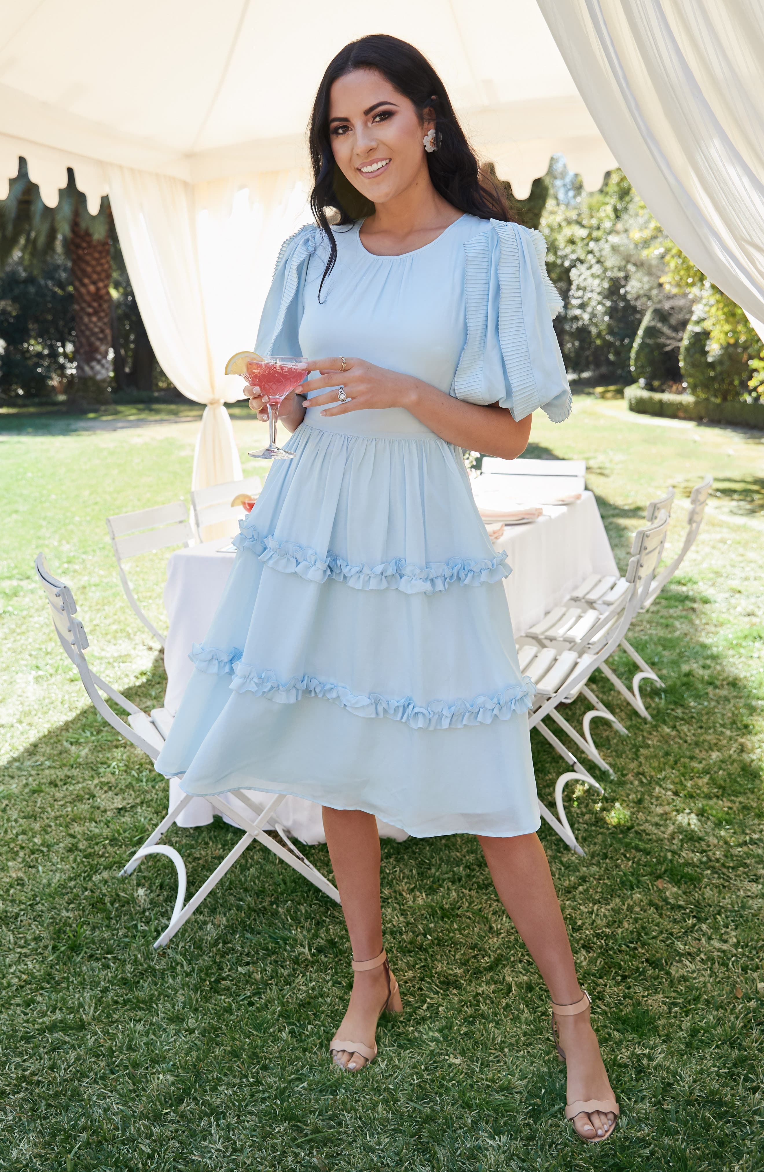 RACHEL PARCELL, Ruffle Sleeve Dress, Alternate thumbnail 8, color, BLUE WINTER