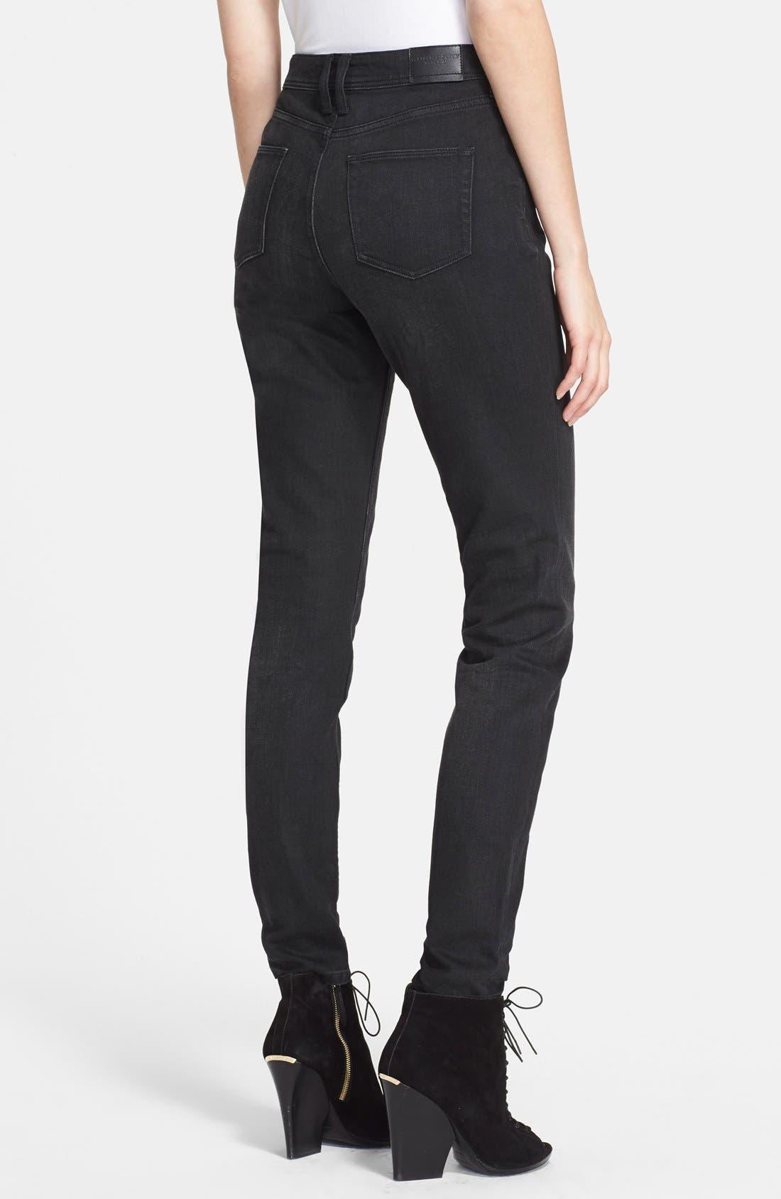 BURBERRY BRIT, Skinny Jeans, Alternate thumbnail 2, color, 001