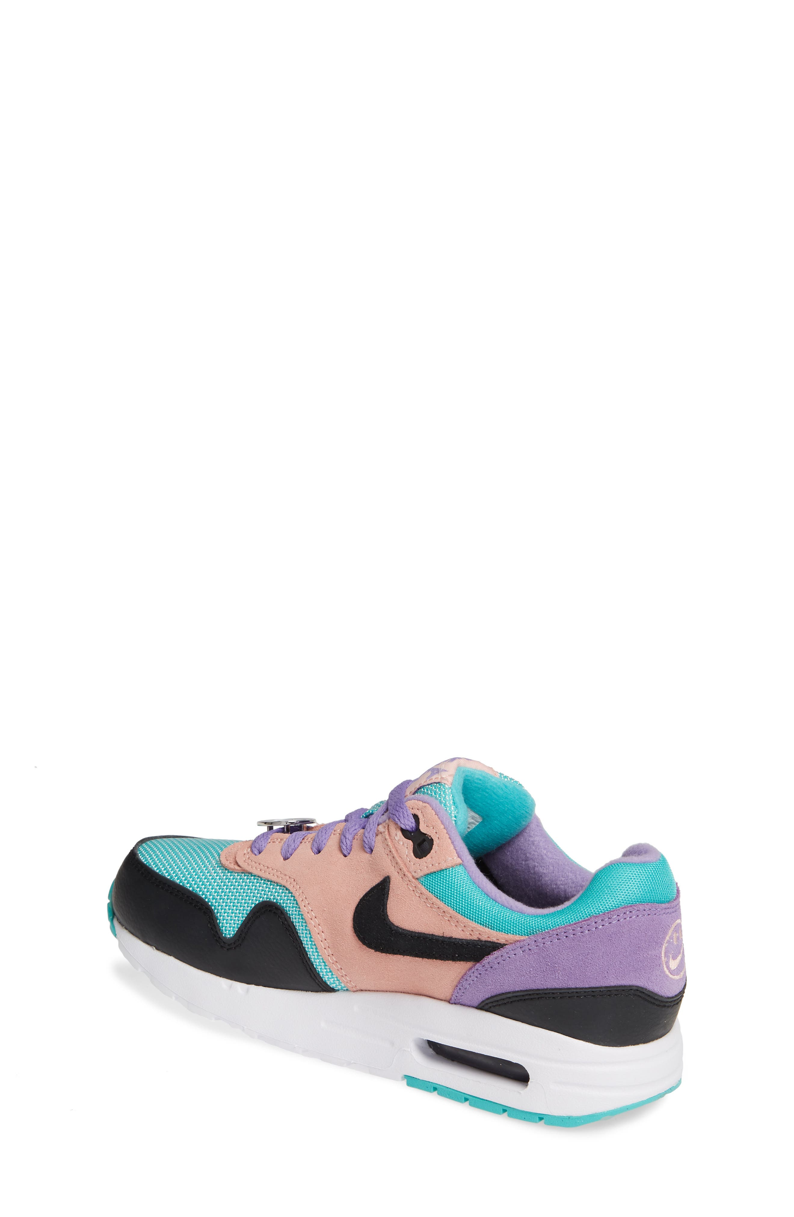 NIKE, Air Max 1 Have a Nike Day Sneaker, Alternate thumbnail 2, color, BLACK/ WHITE