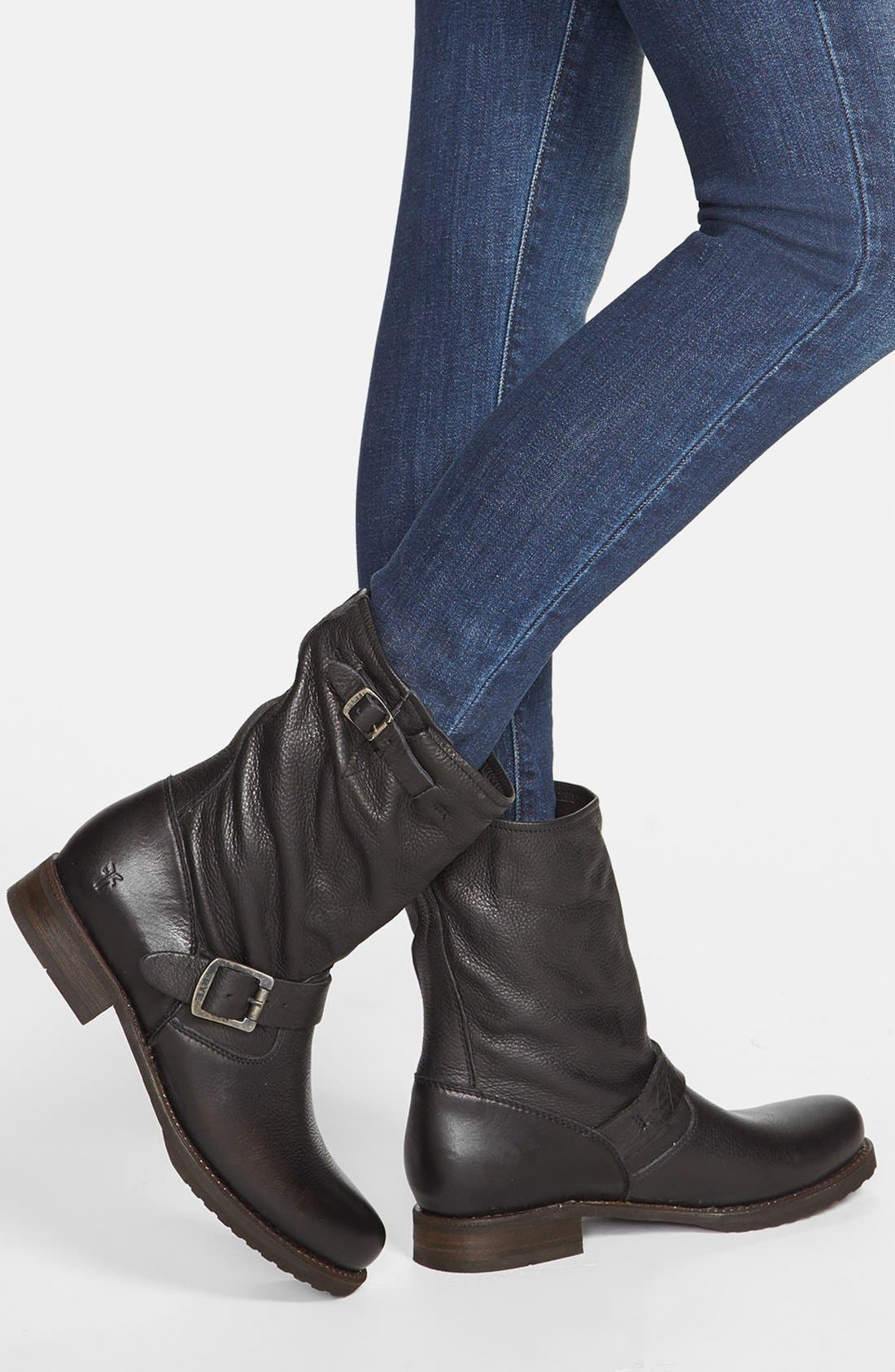 FRYE, 'Veronica Short' Slouchy Boot, Alternate thumbnail 2, color, BLACK LEATHER