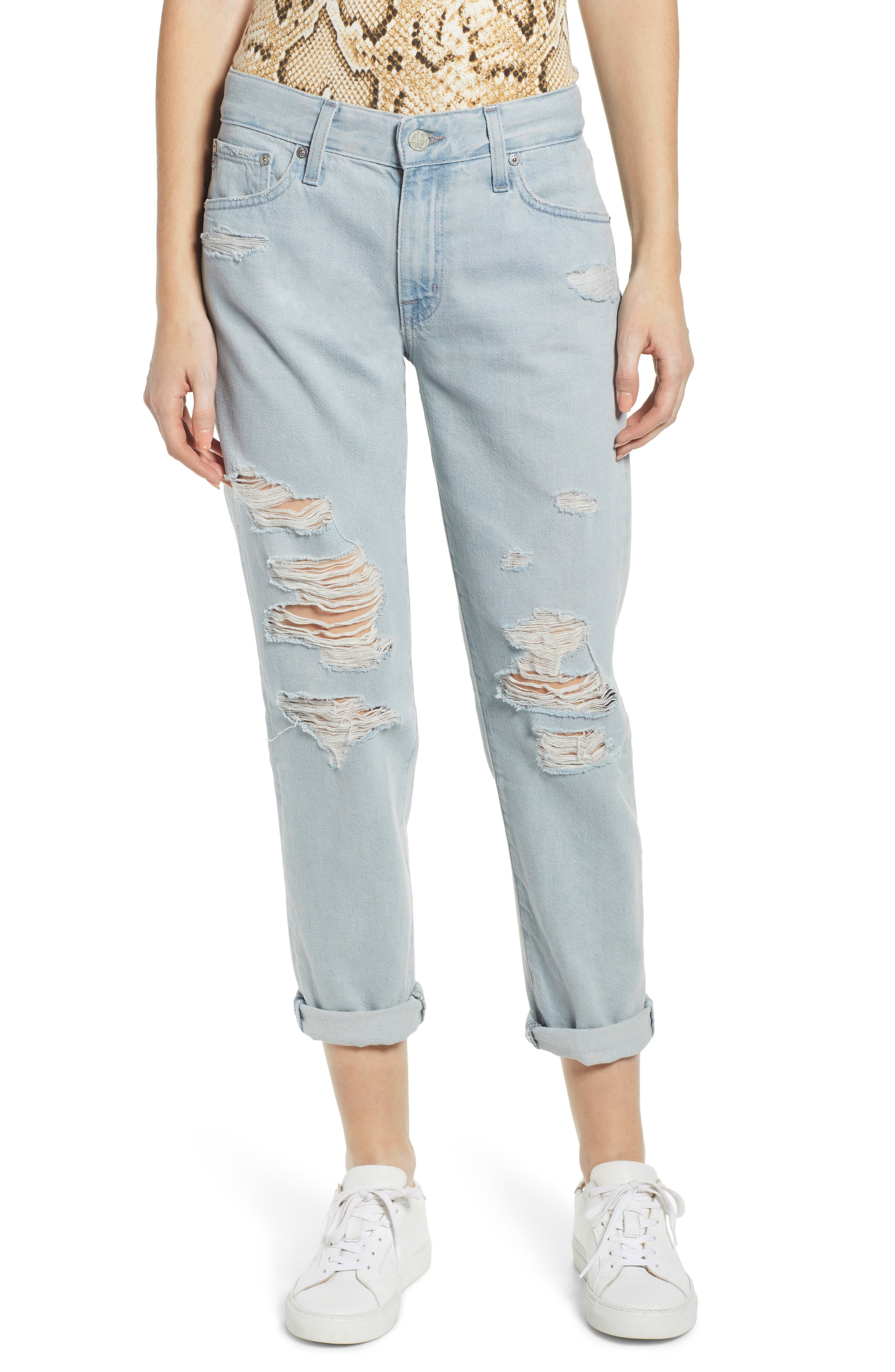 AG, Ex-Boyfriend Ripped Slouchy Ankle Slim Jeans, Main thumbnail 1, color, 25 YEARS DEEP DUST