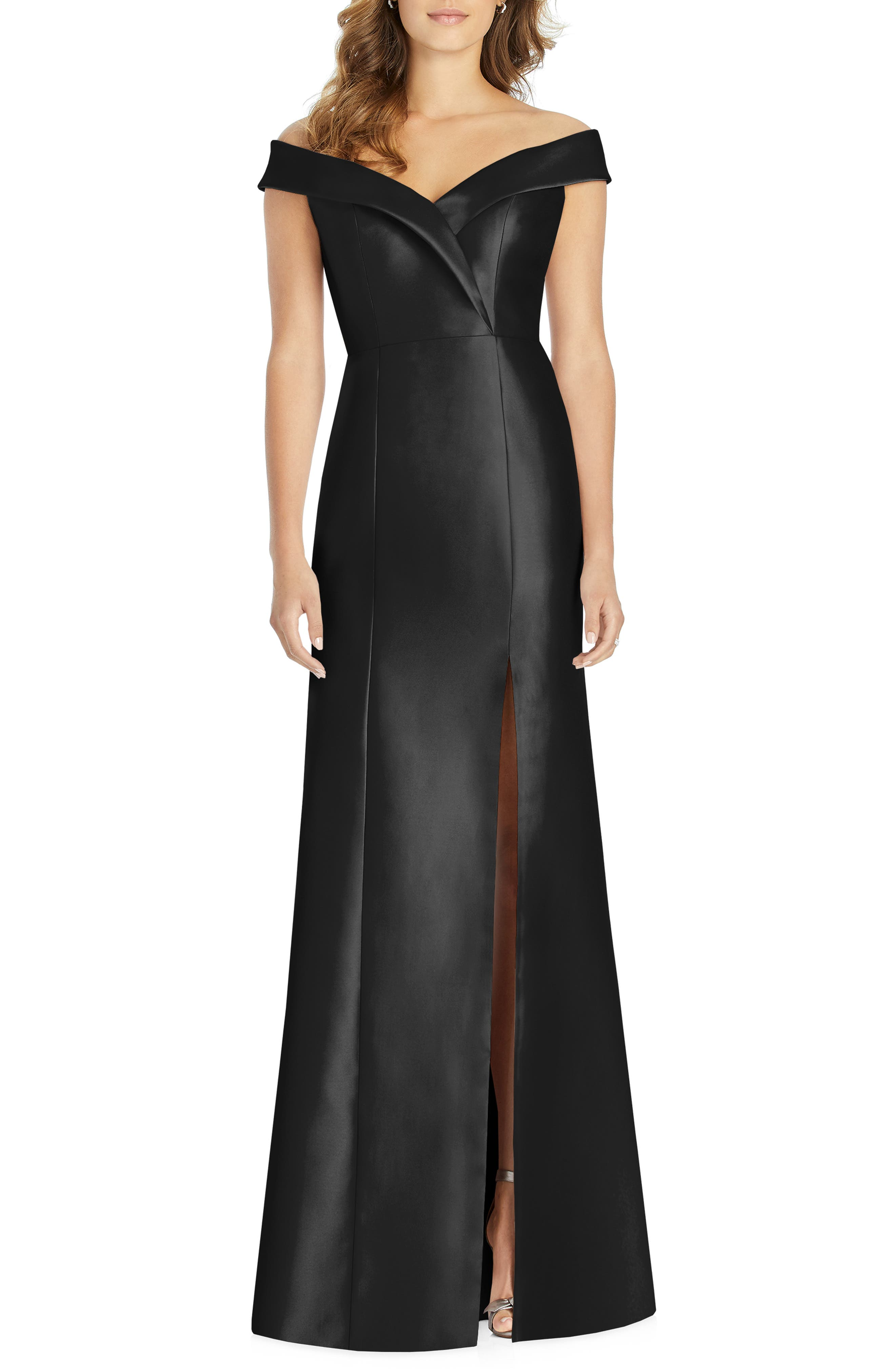 ALFRED SUNG, Portrait Collar Satin Gown, Main thumbnail 1, color, BLACK