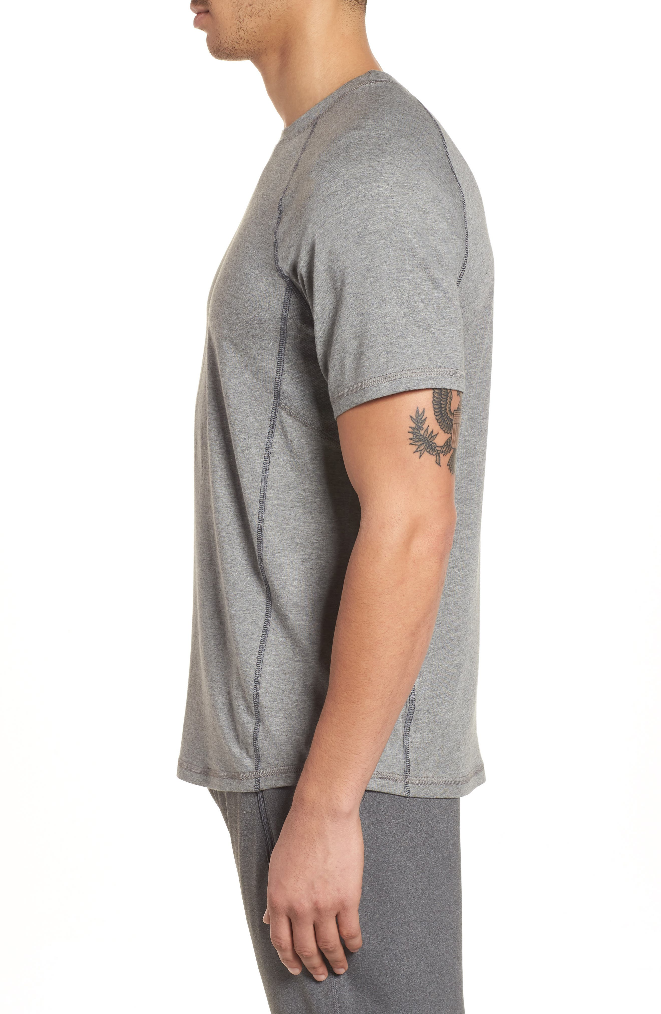 TASC PERFORMANCE, Charge II T-Shirt, Alternate thumbnail 3, color, HEATHER GREY