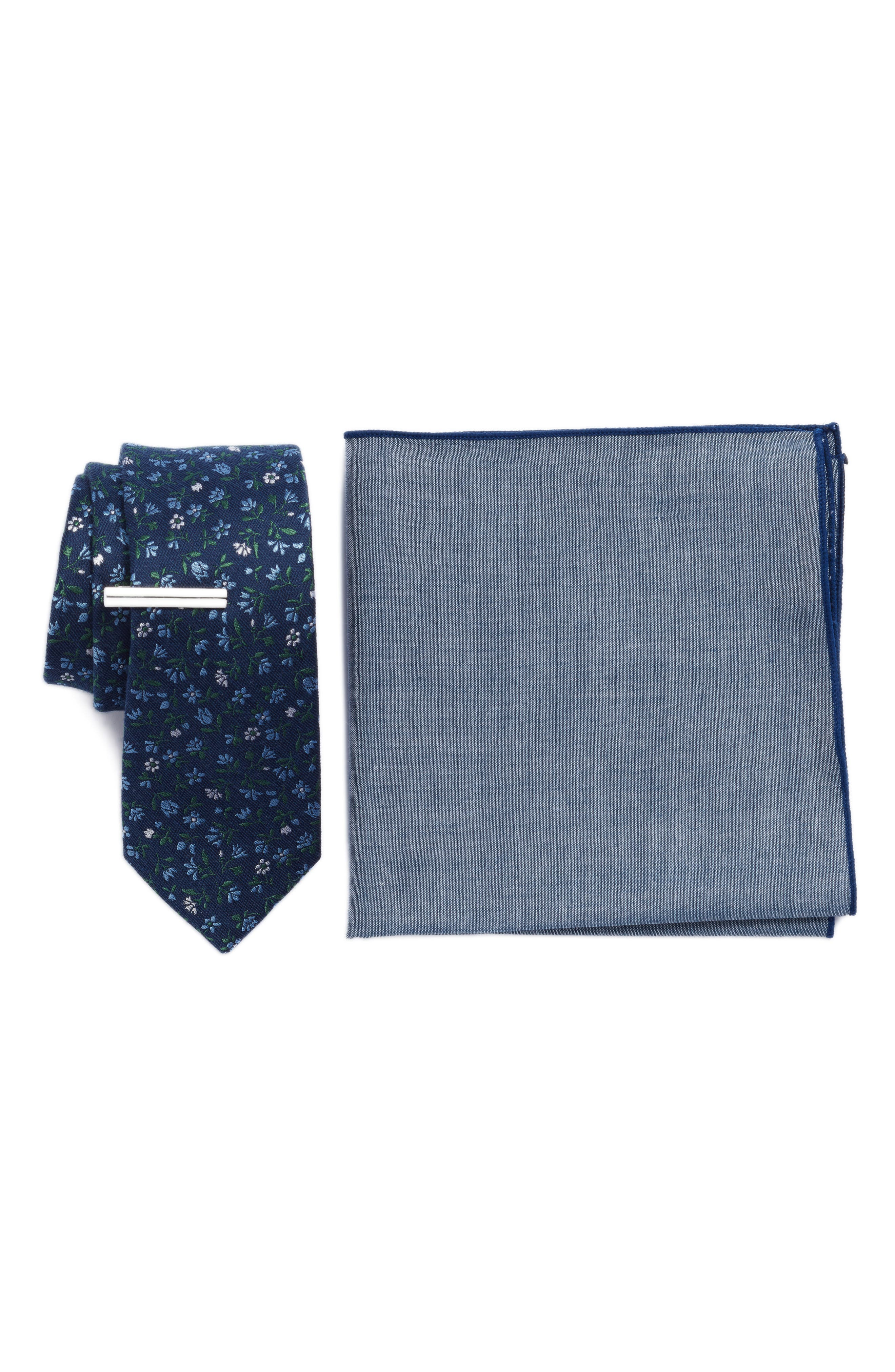 THE TIE BAR, Floral Acres 3-Piece Skinny Tie Style Box, Main thumbnail 1, color, NAVY