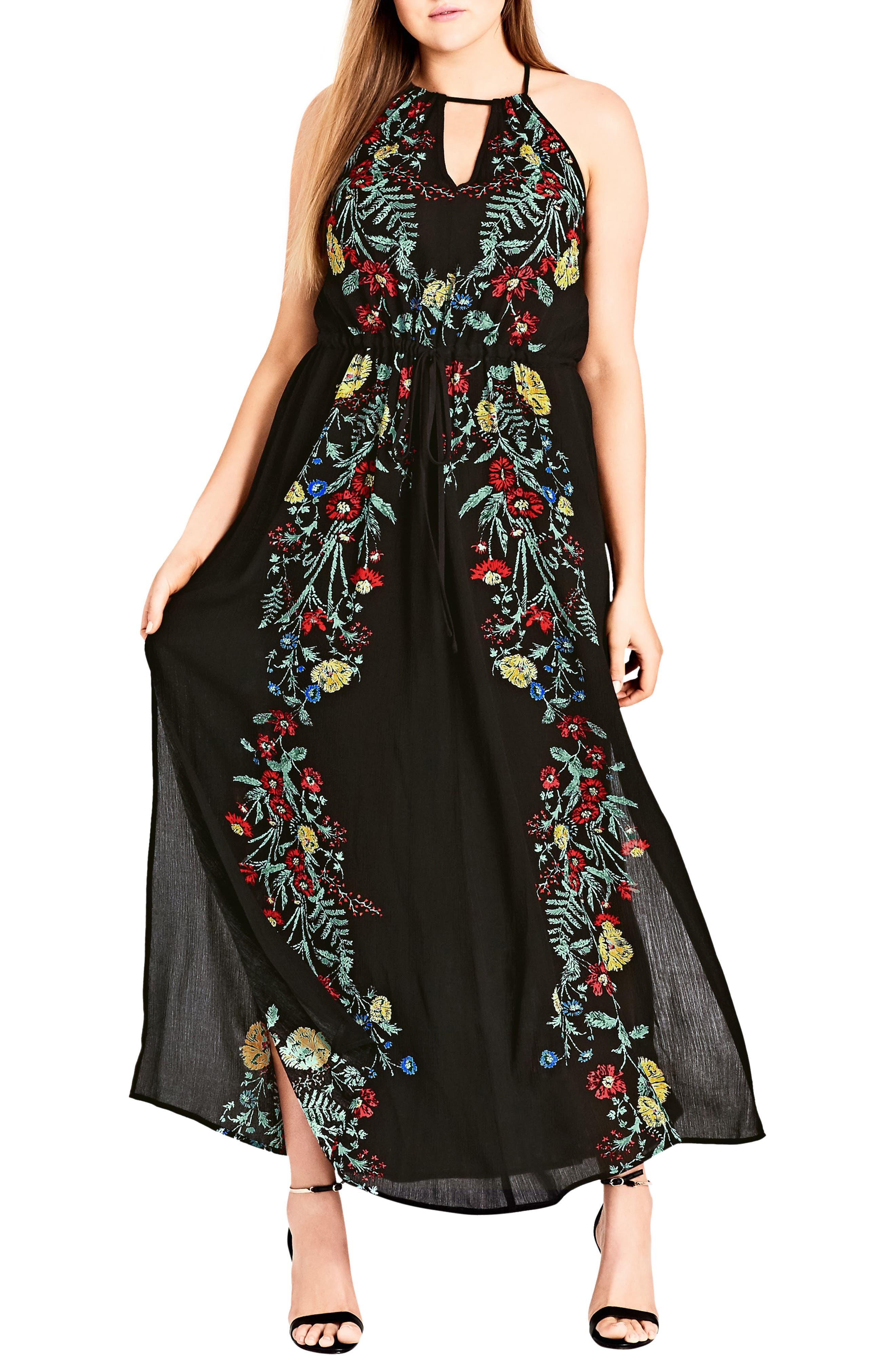 CITY CHIC, Secret Vine Maxi Dress, Main thumbnail 1, color, BLACK