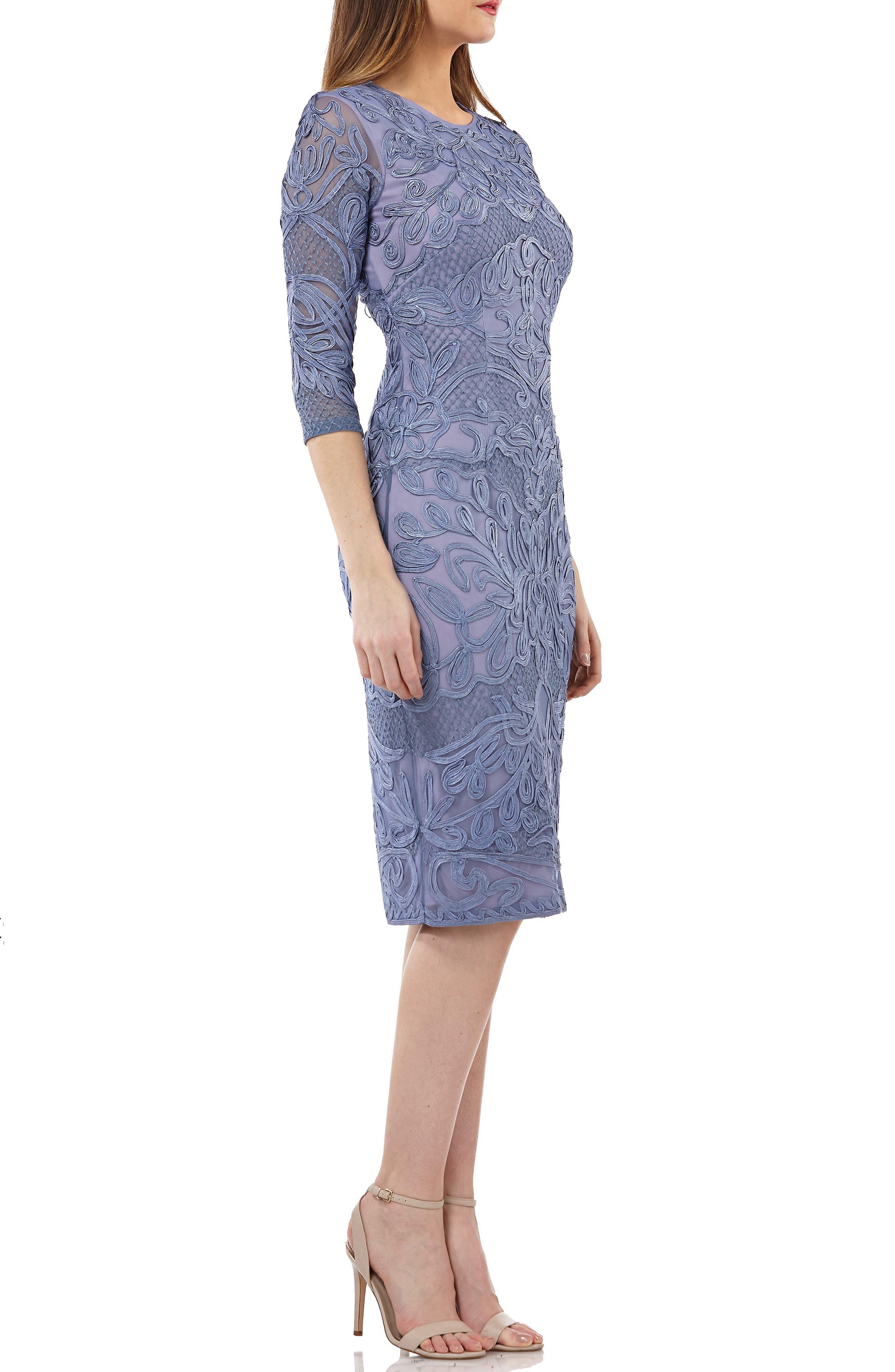 JS COLLECTIONS, Soutache Sheath Dress, Alternate thumbnail 4, color, PERIWINKLE
