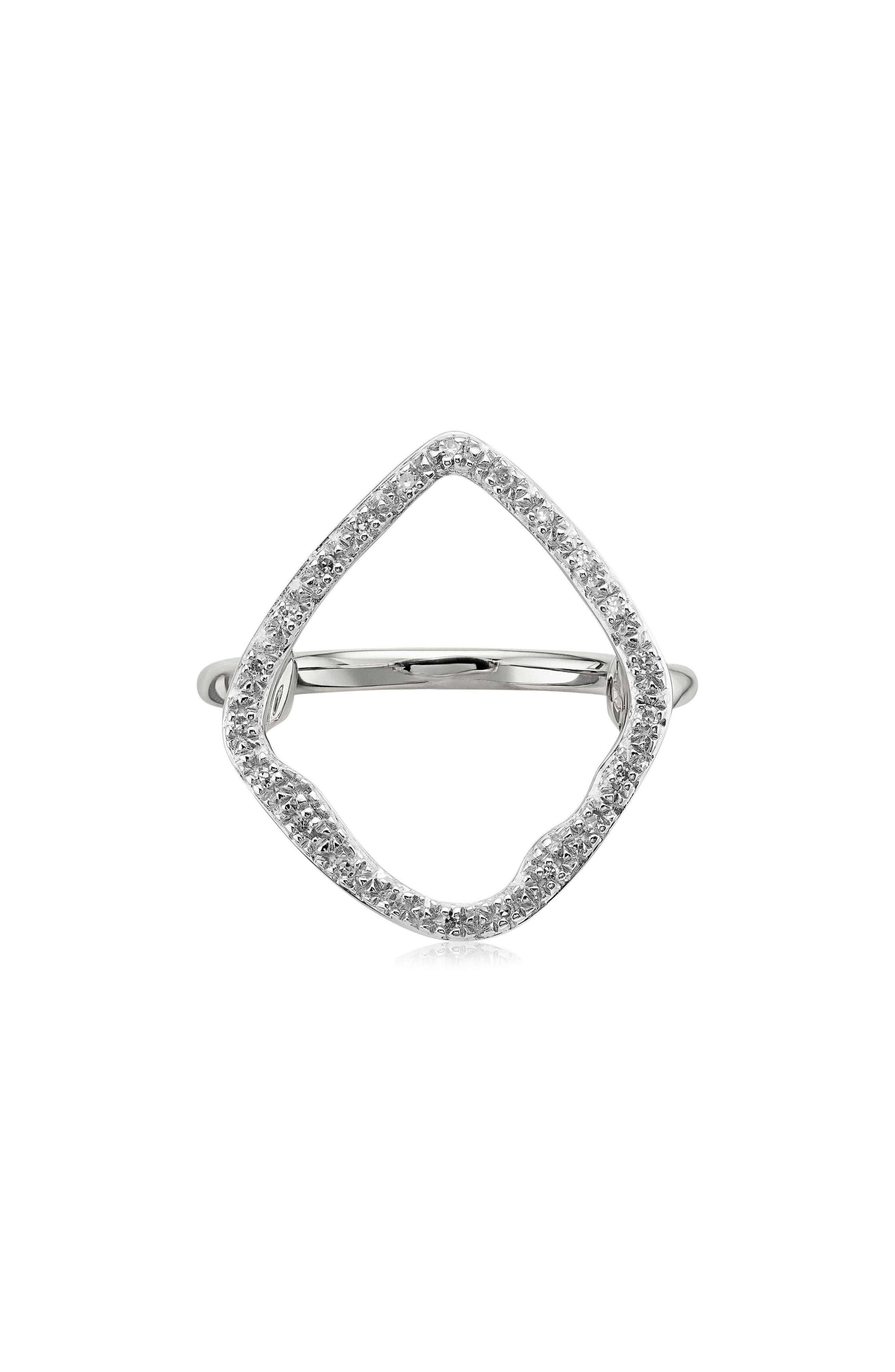 MONICA VINADER, Riva Hoop Diamond Ring, Main thumbnail 1, color, SILVER