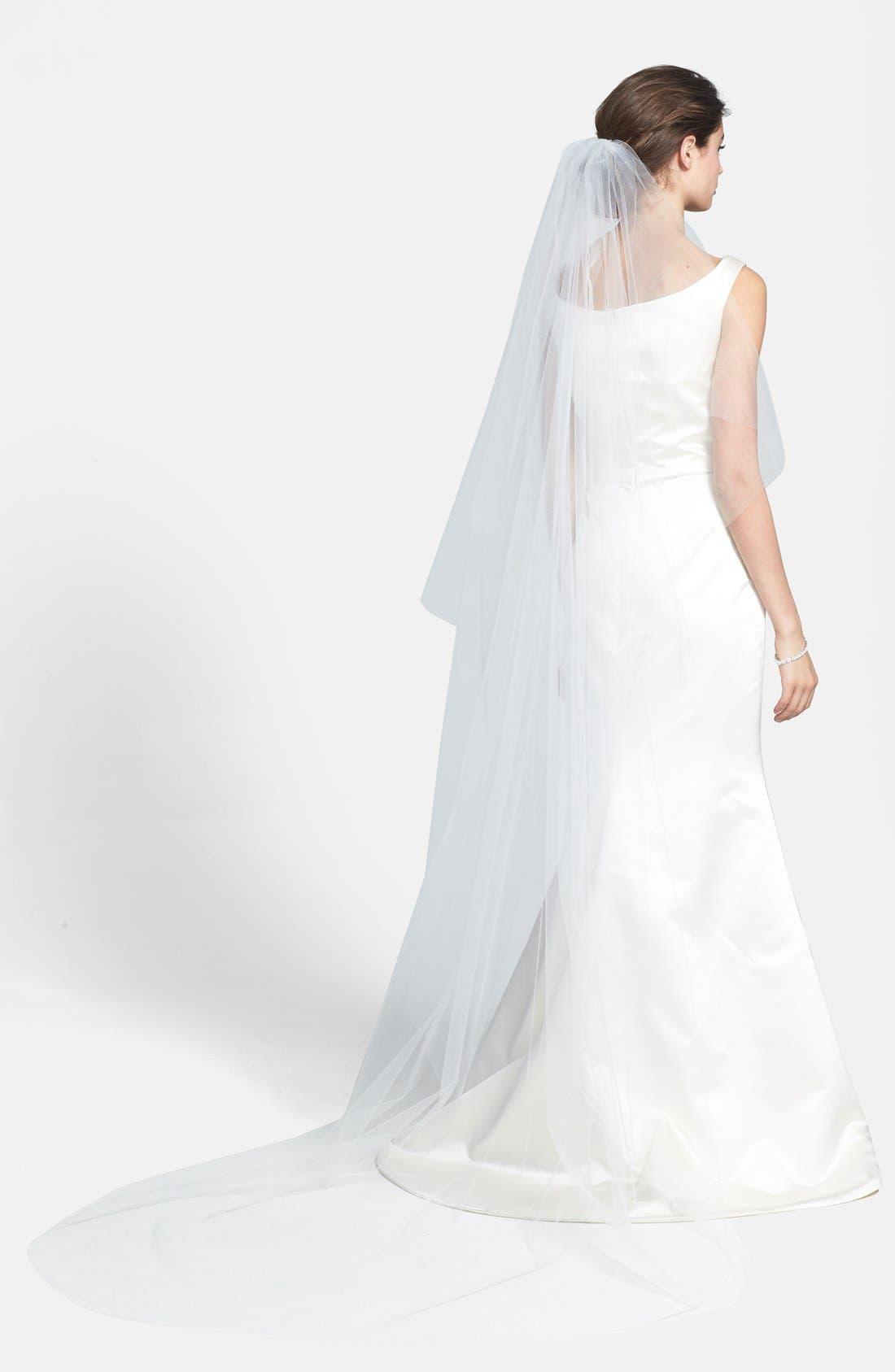 WEDDING BELLES NEW YORK, 'Ellen' Cathedral Veil, Alternate thumbnail 3, color, WHITE