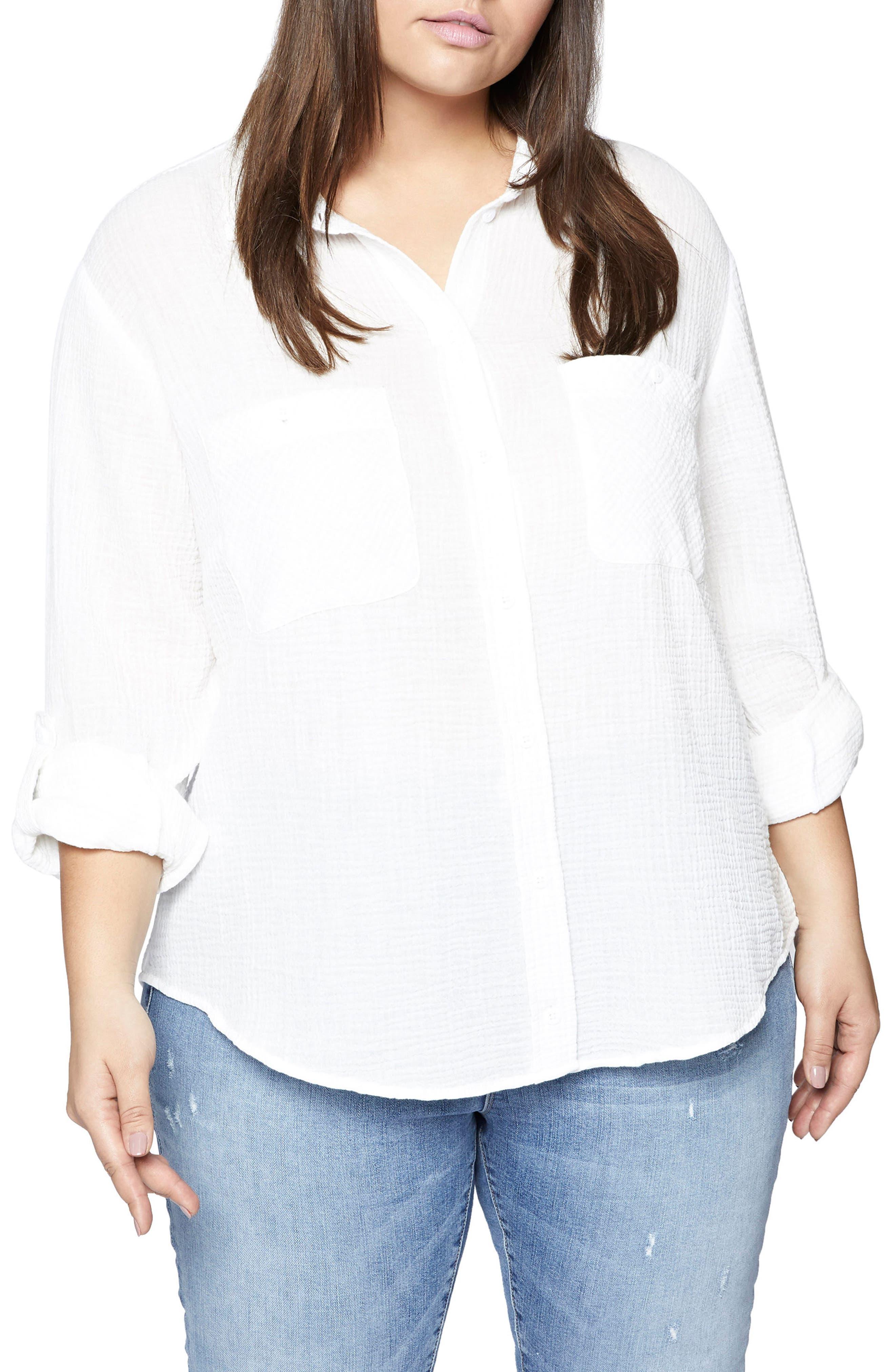 SANCTUARY Steady Boyfriend Shirt, Main, color, WHITE