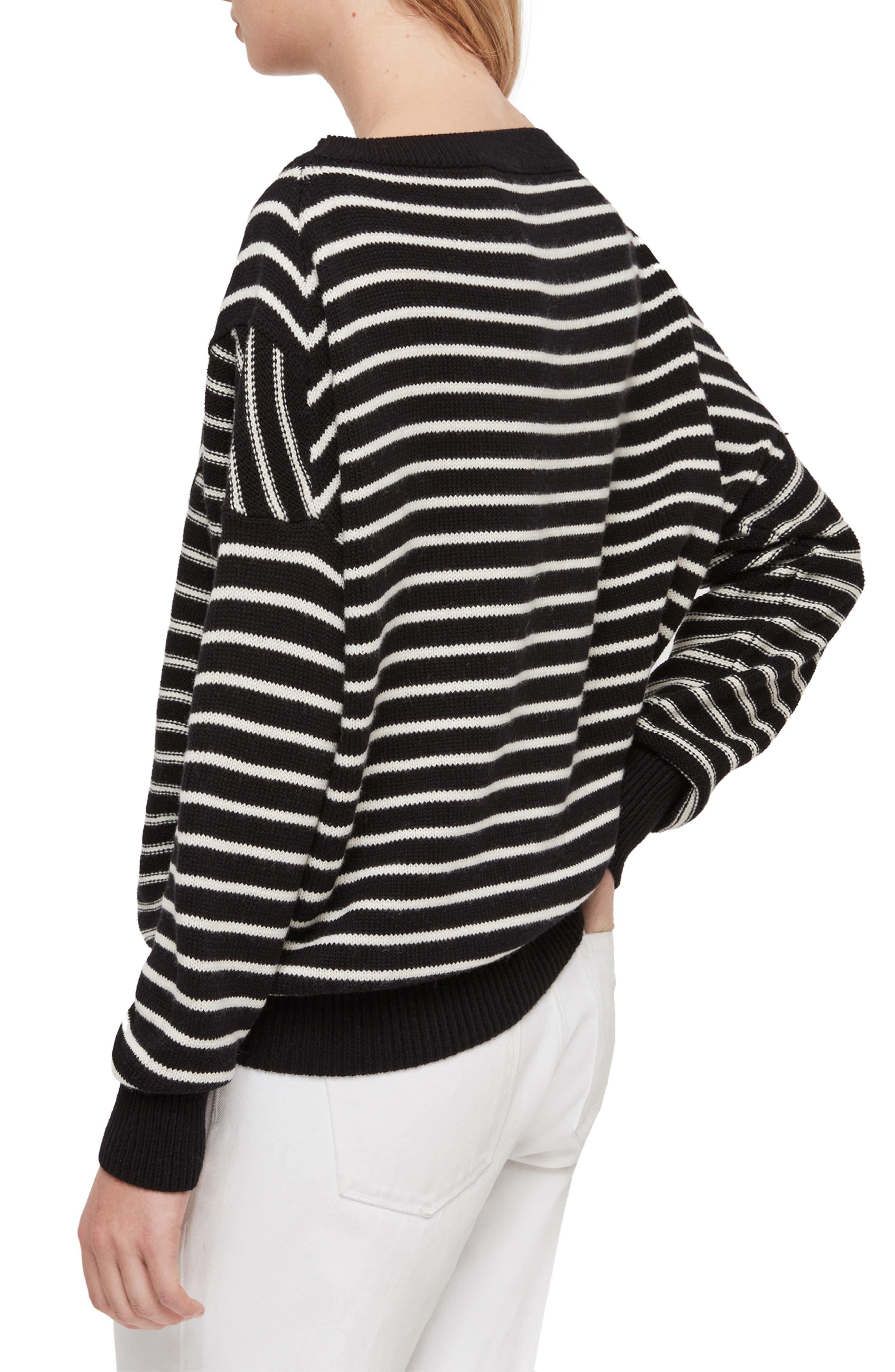 ALLSAINTS, Vani Sweater, Alternate thumbnail 2, color, BLACK/ CHALK WHITE