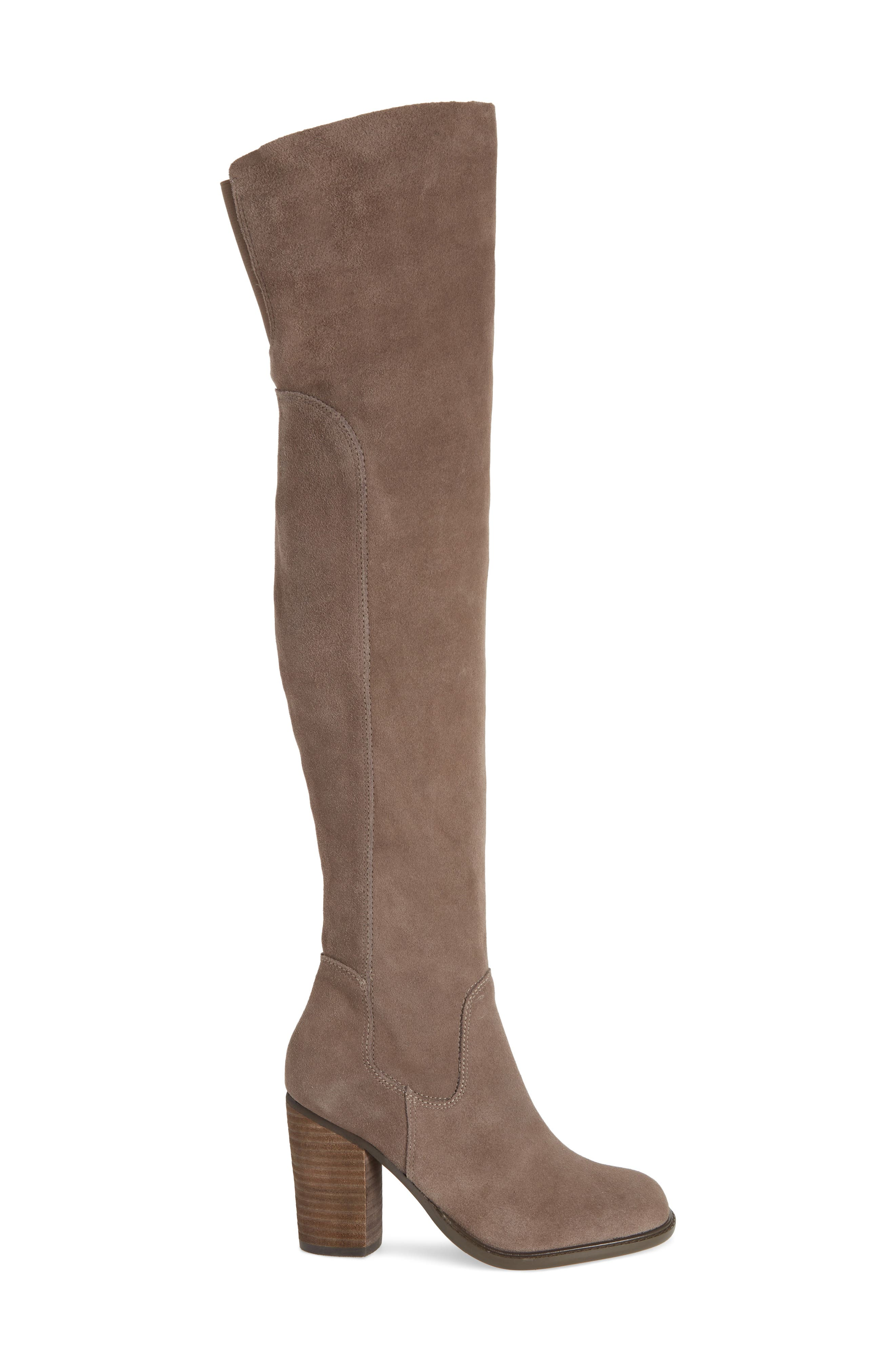 KELSI DAGGER BROOKLYN, Logan Over the Knee Boot, Alternate thumbnail 3, color, WARM GREY SUEDE