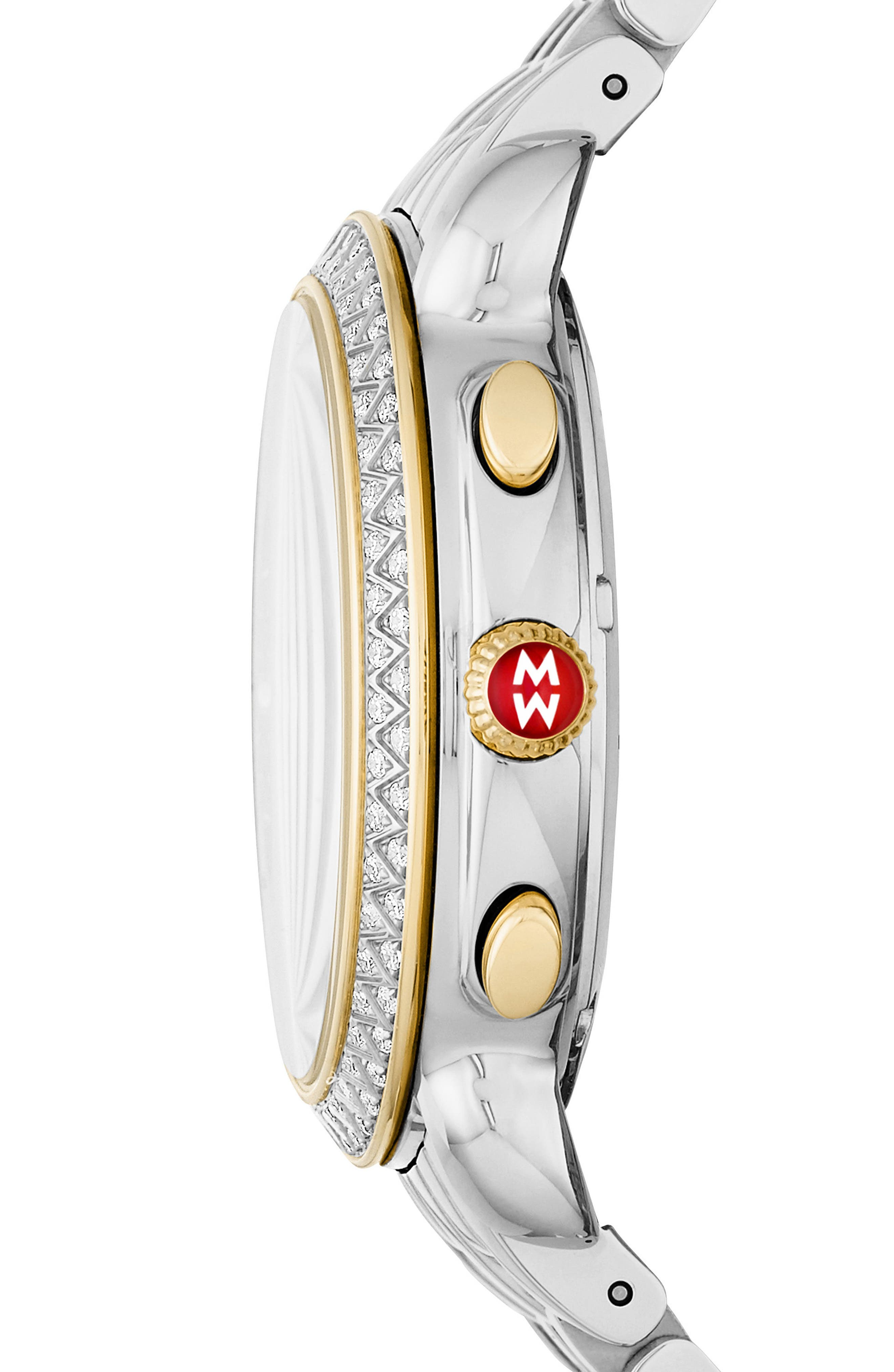 MICHELE, Sidney Chrono Diamond Diamond Dial Watch Case, 38mm, Alternate thumbnail 3, color, SILVER/ MOP/ GOLD