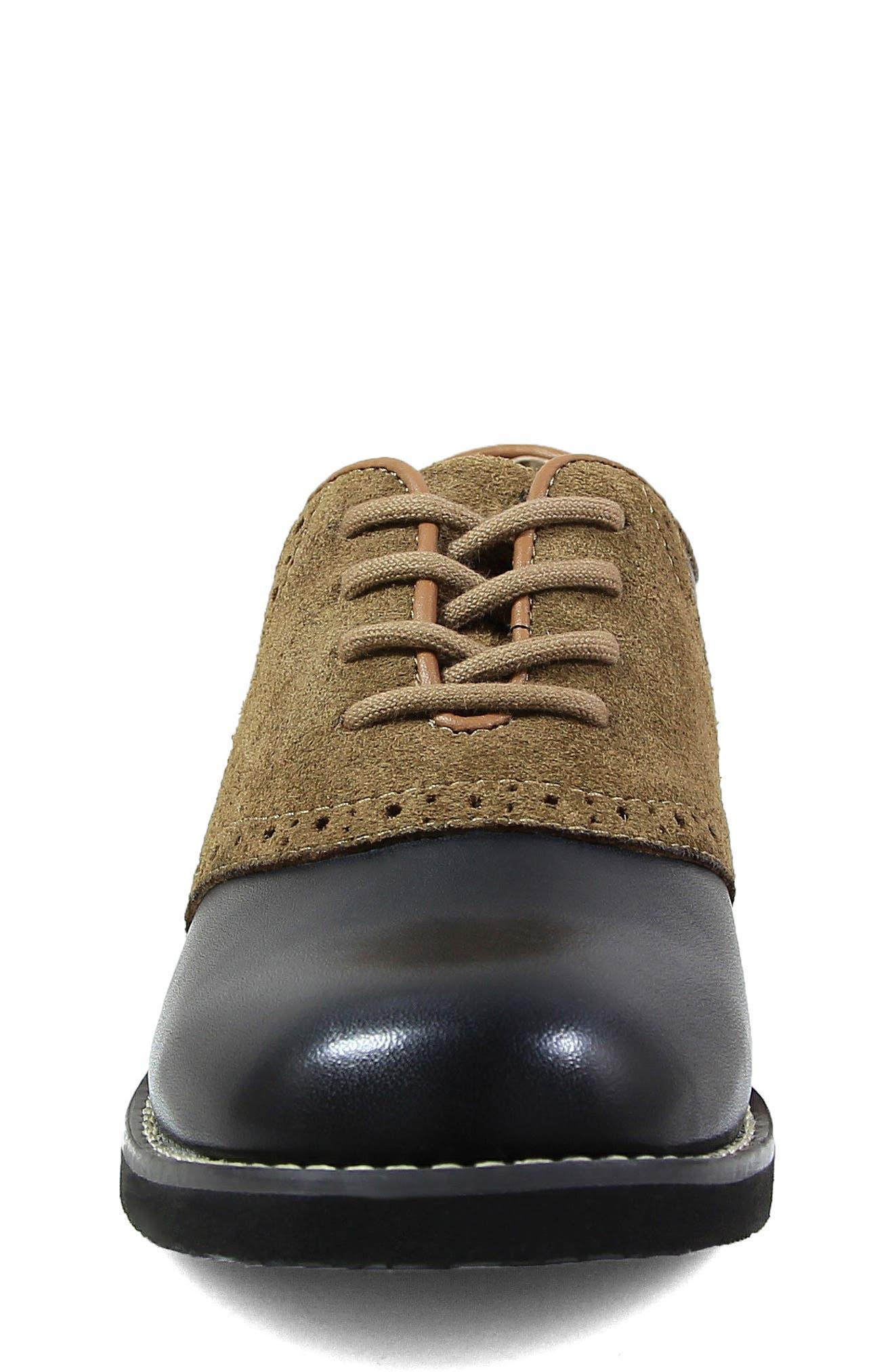 FLORSHEIM, 'Kennett Jr. II' Saddle Shoe, Alternate thumbnail 3, color, SMOOTH BLACK W/ MOCHA SUEDE