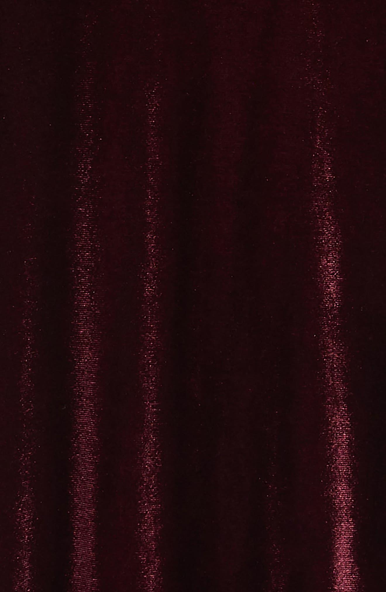 BLUSH BY US ANGELS, Cold Shoulder Velvet Dress, Alternate thumbnail 3, color, BERRY