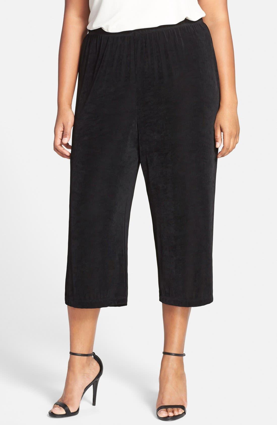VIKKI VI, High Rise Stretch Knit Crop Pants, Main thumbnail 1, color, BLACK