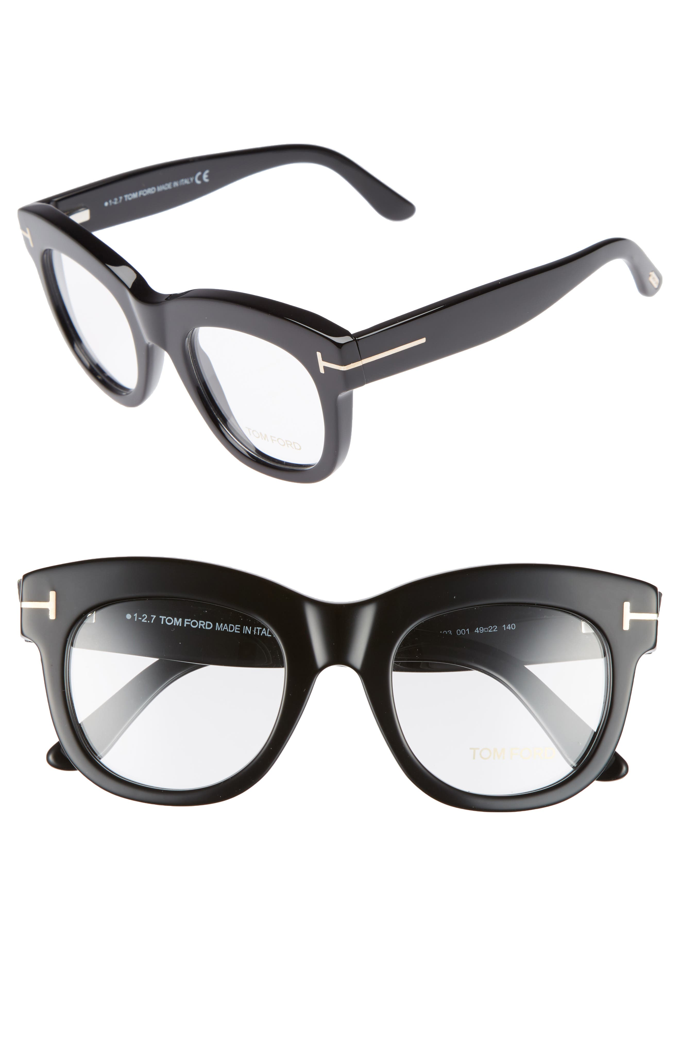 TOM FORD, 49mm Optical Glasses, Main thumbnail 1, color, SHINY BLACK