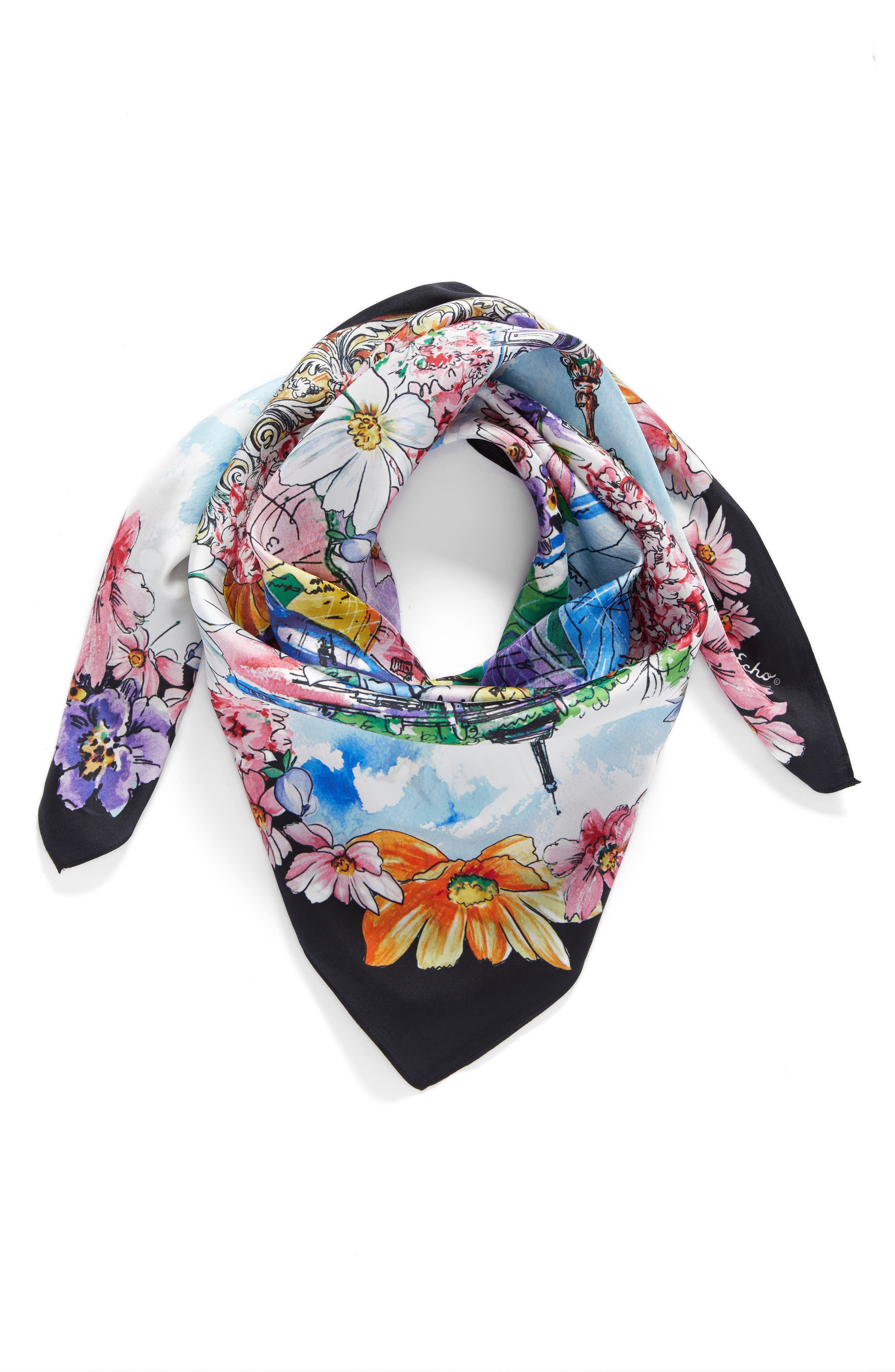 ECHO, Paris in the Spring Silk Square Scarf, Main thumbnail 1, color, 001