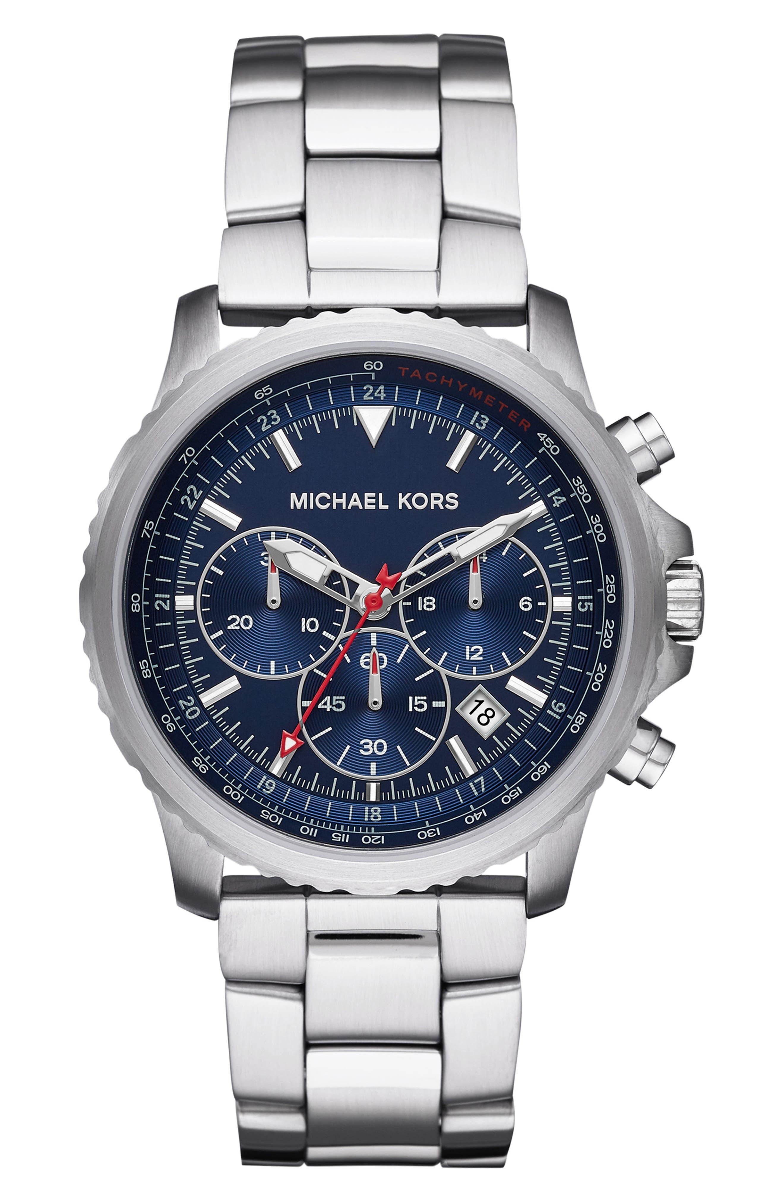 MICHAEL KORS, Theroux Bracelet Watch, 42mm, Main thumbnail 1, color, SILVER/ BLUE/ SILVER