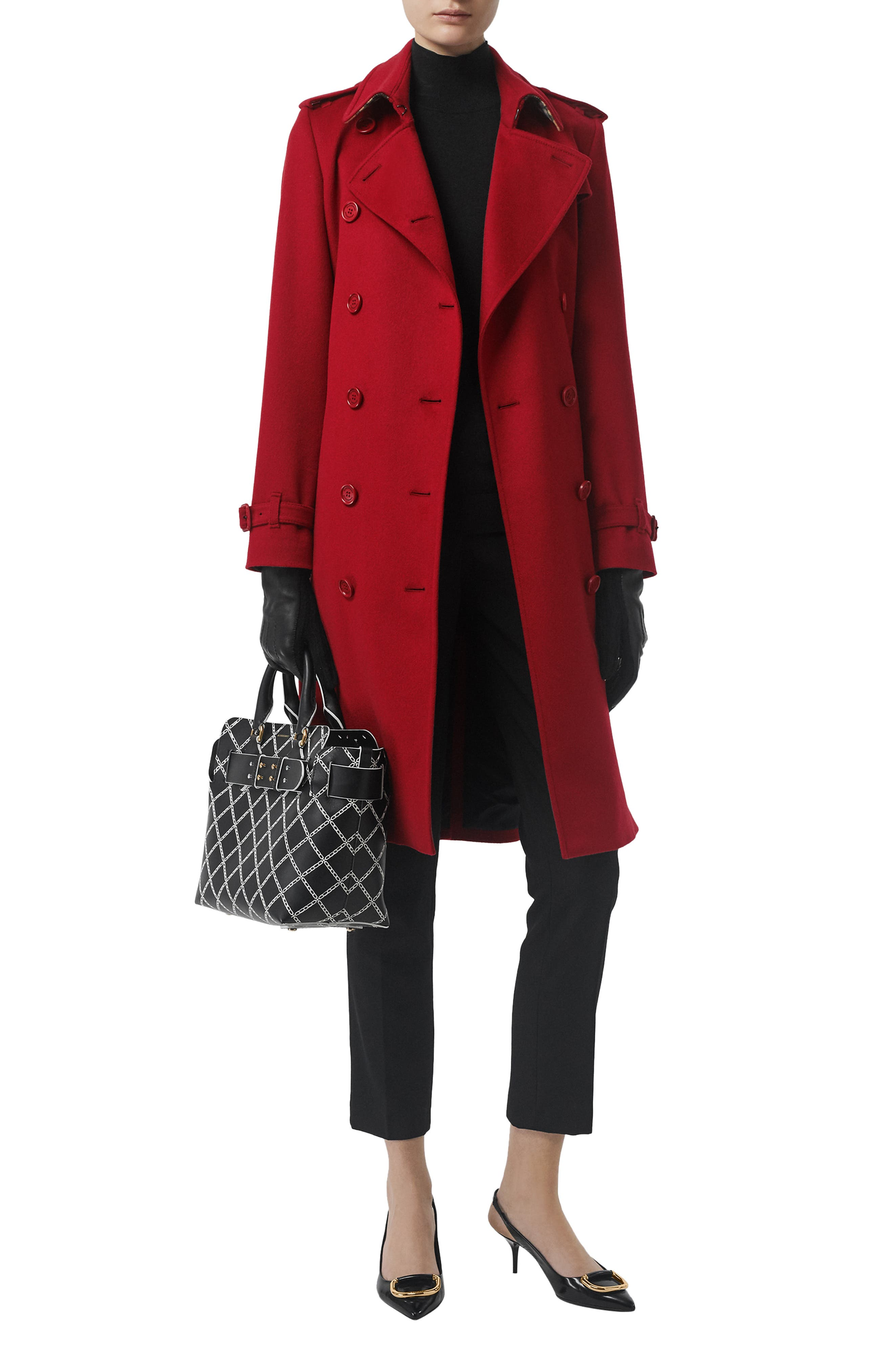 BURBERRY, Kensington Cashmere Trench Coat, Alternate thumbnail 7, color, PARADE RED