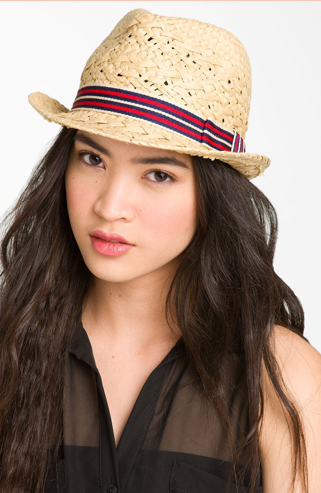 SOMETHING SPECIAL Stripe Band Straw Fedora, Main, color, 250