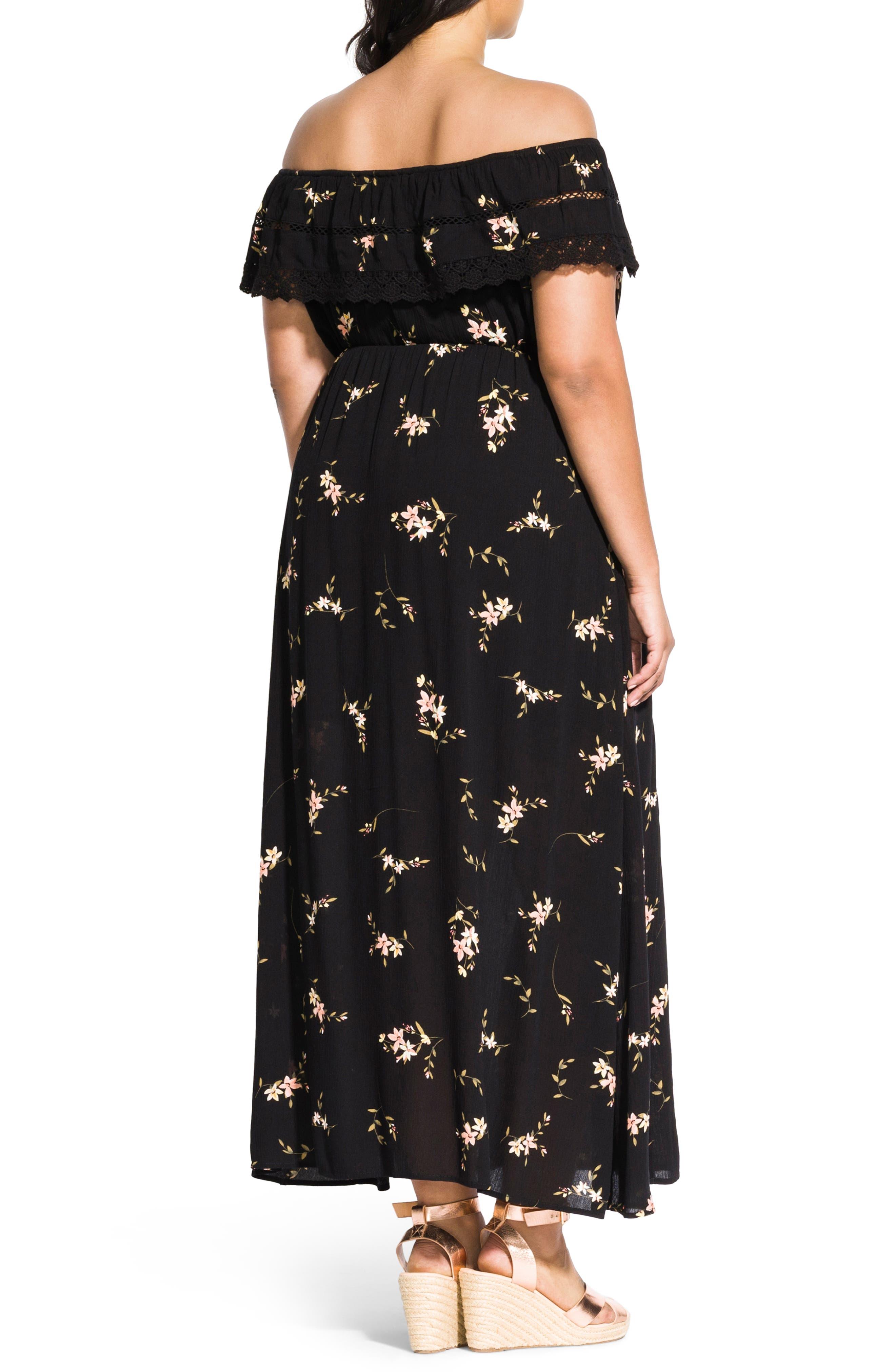 CITY CHIC, Off the Shoulder Floral Maxi Dress, Alternate thumbnail 2, color, AERIAL FLORAL