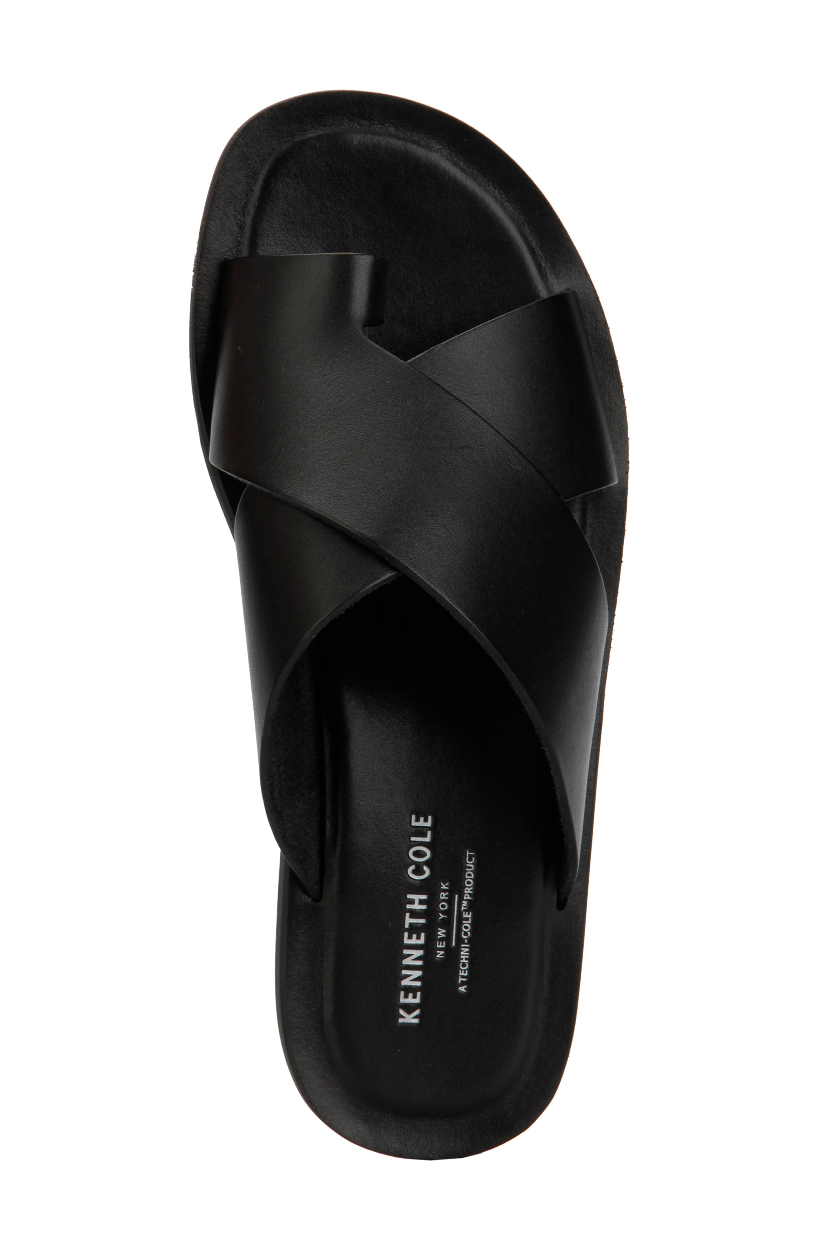 KENNETH COLE NEW YORK, Ideal Slide Sandal, Alternate thumbnail 3, color, BLACK LEATHER
