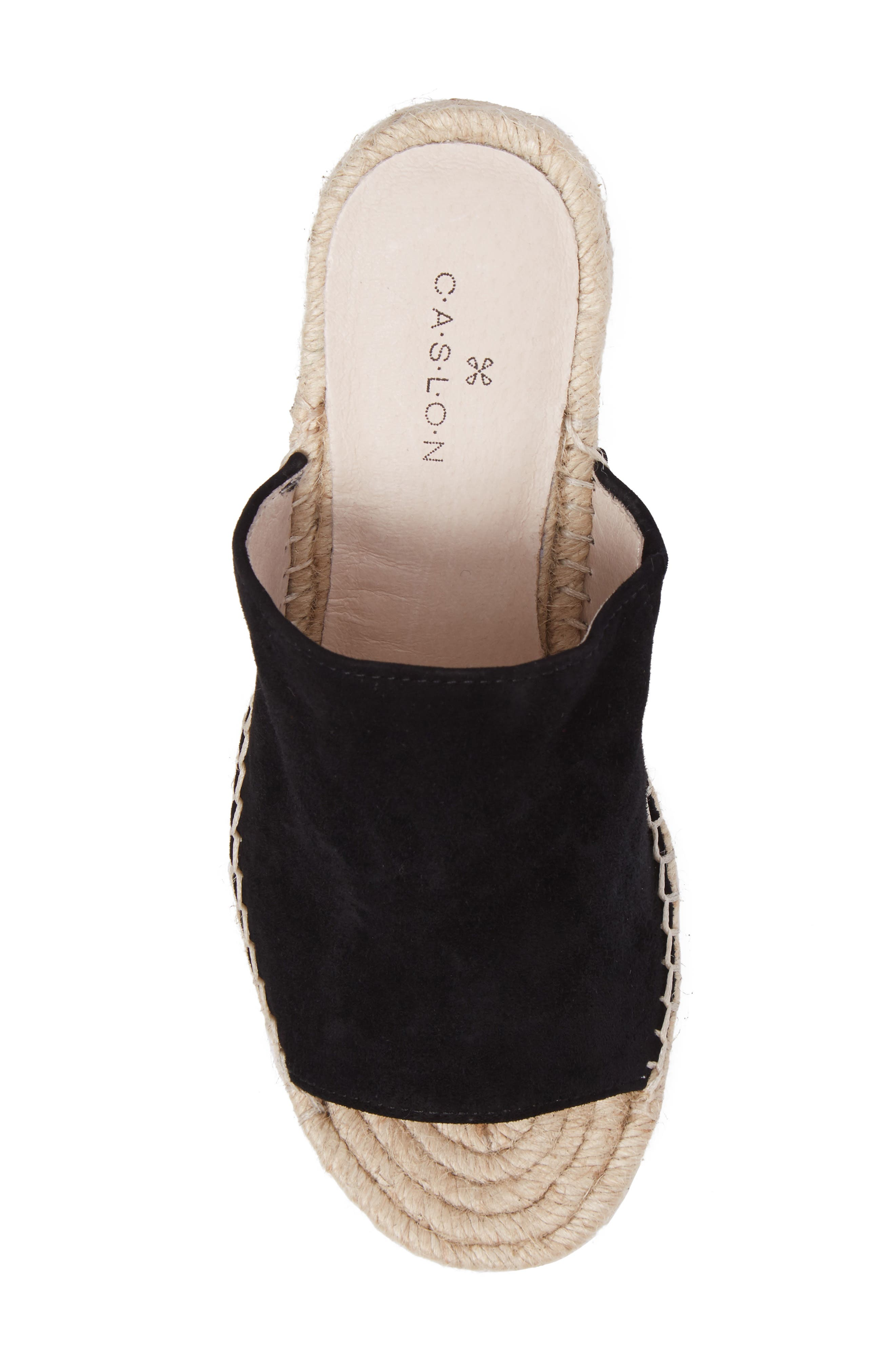 CASLON<SUP>®</SUP>, Sally Wedge Sandal, Alternate thumbnail 5, color, BLACK SUEDE
