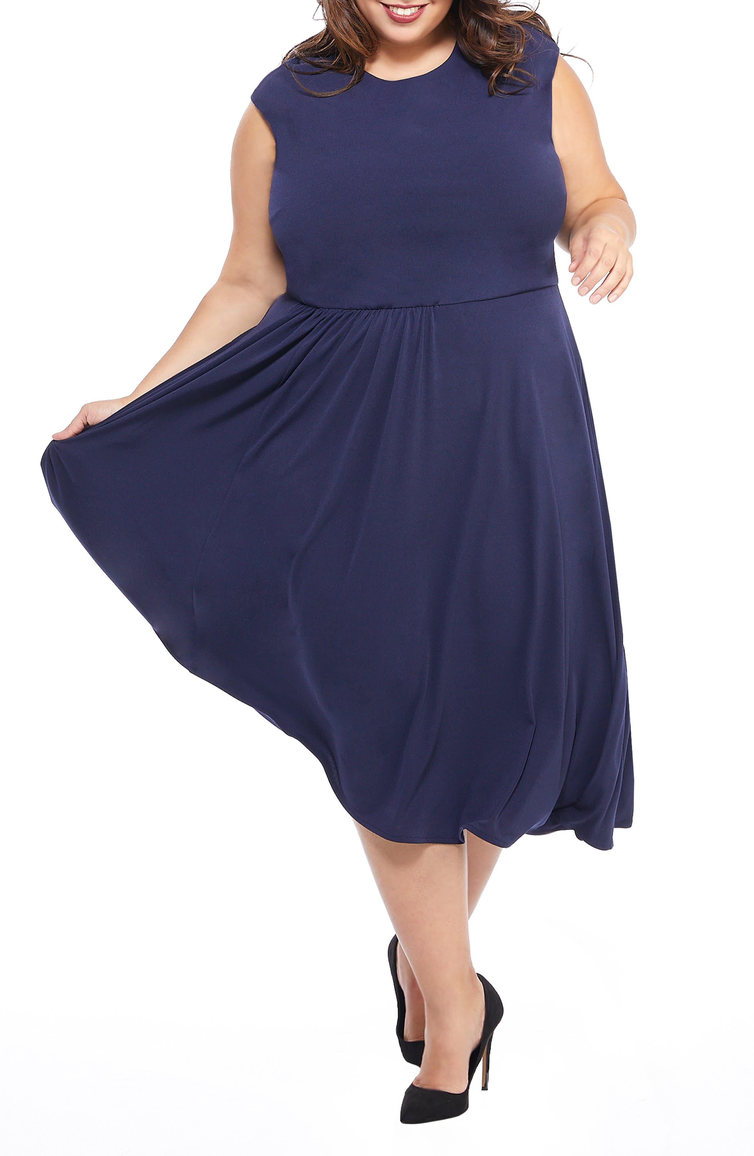 MAGGY LONDON, Crystal Side Drape Crepe Midi Dress, Main thumbnail 1, color, 460