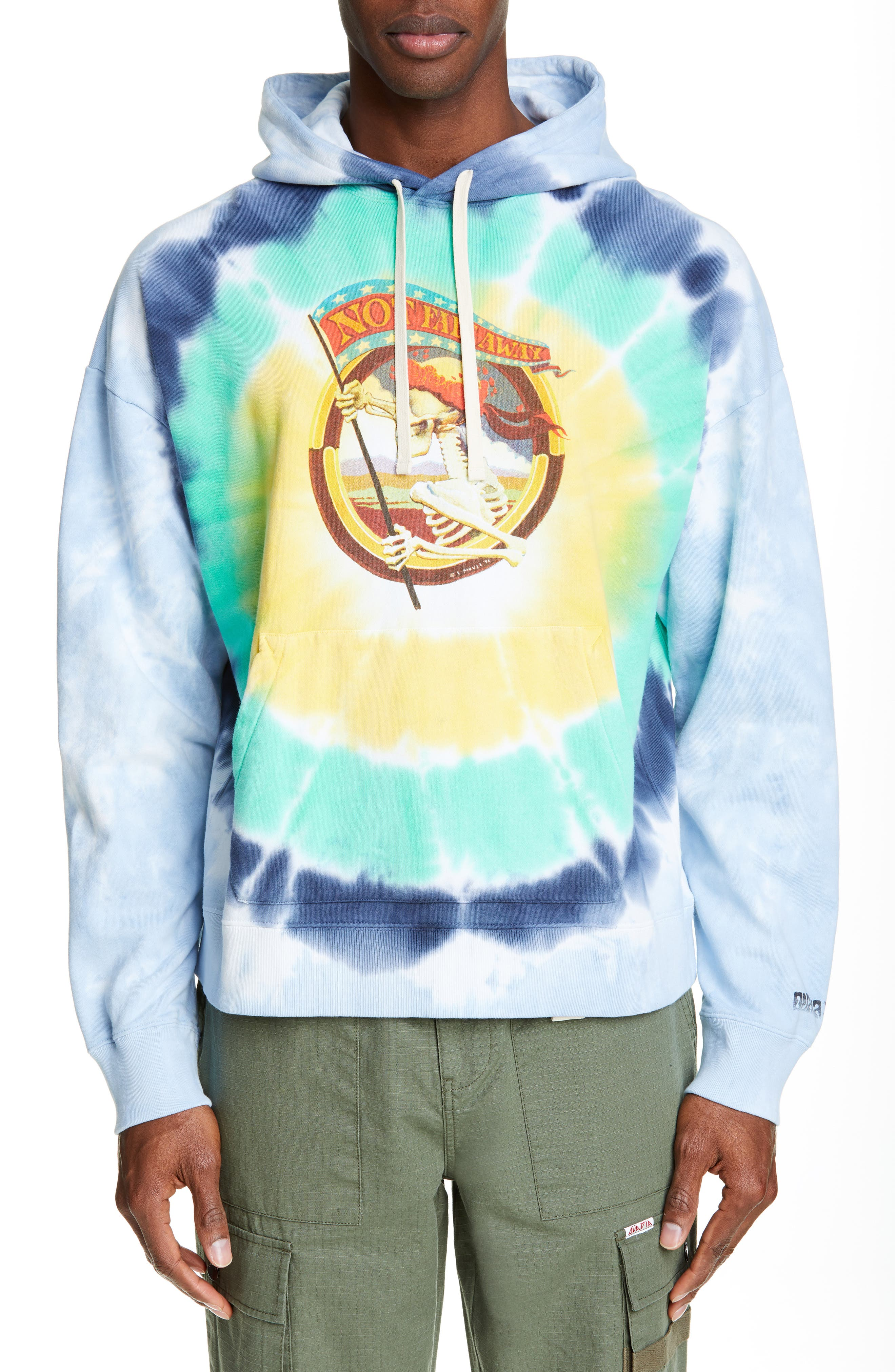 OVADIA & SONS, x Stanley Mouse Not Fade Away Tie Dye Hoodie, Main thumbnail 1, color, TIE DYE