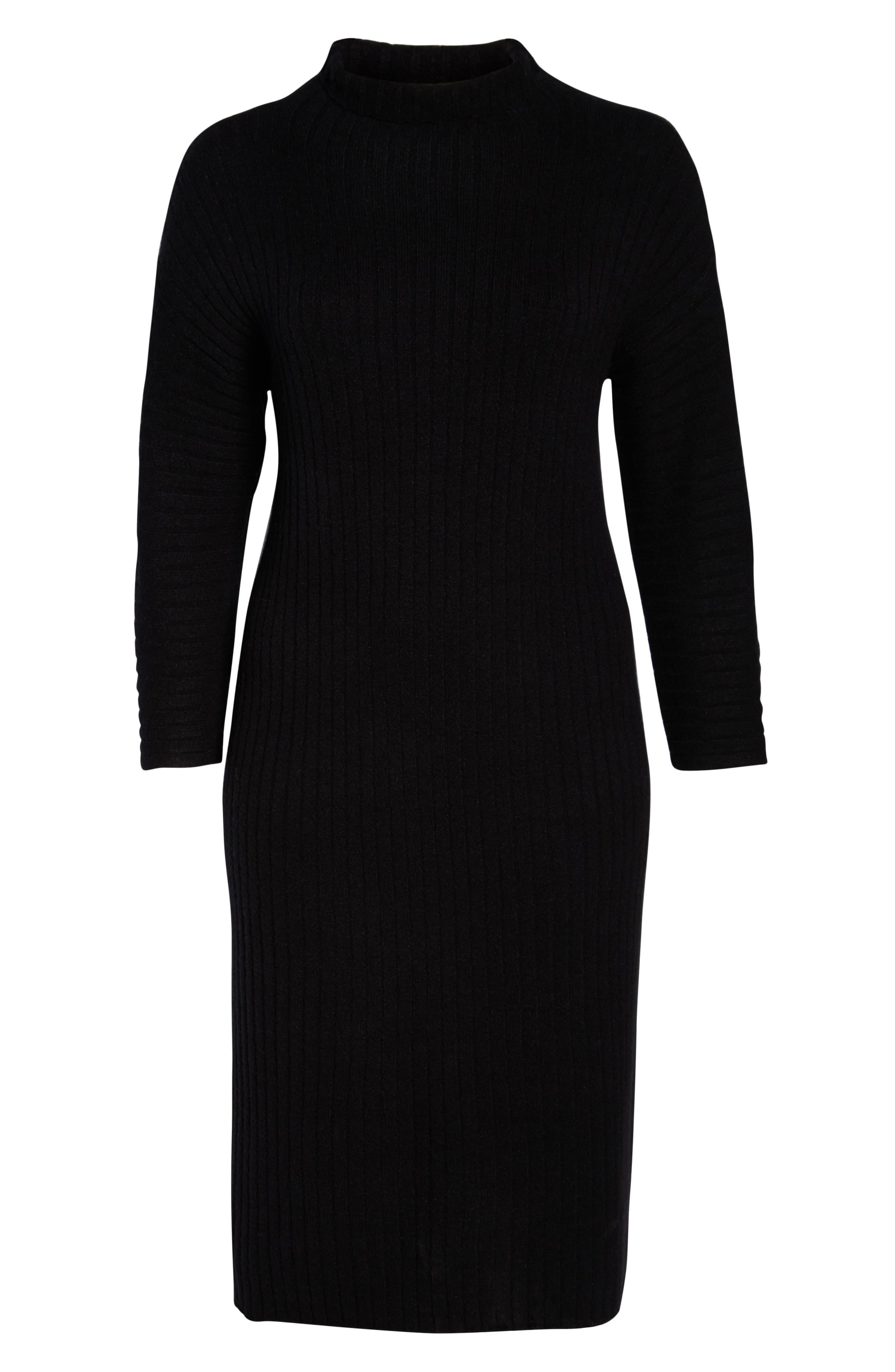 LEITH, Ribbed Midi Sweater Dress, Alternate thumbnail 7, color, BLACK
