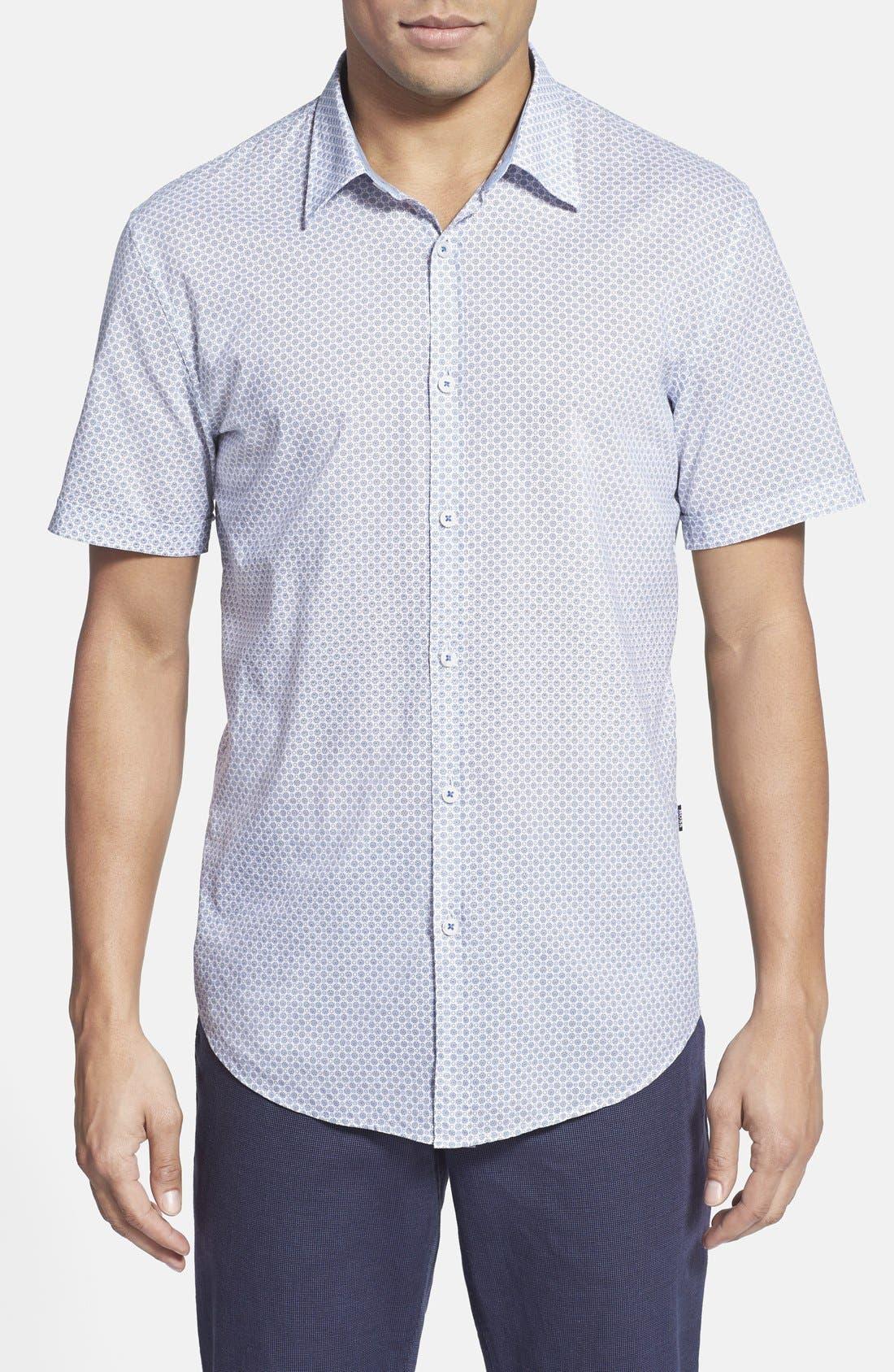 BOSS, 'Marco' Regular Fit Medallion Print Short Sleeve Sport Shirt, Main thumbnail 1, color, 431