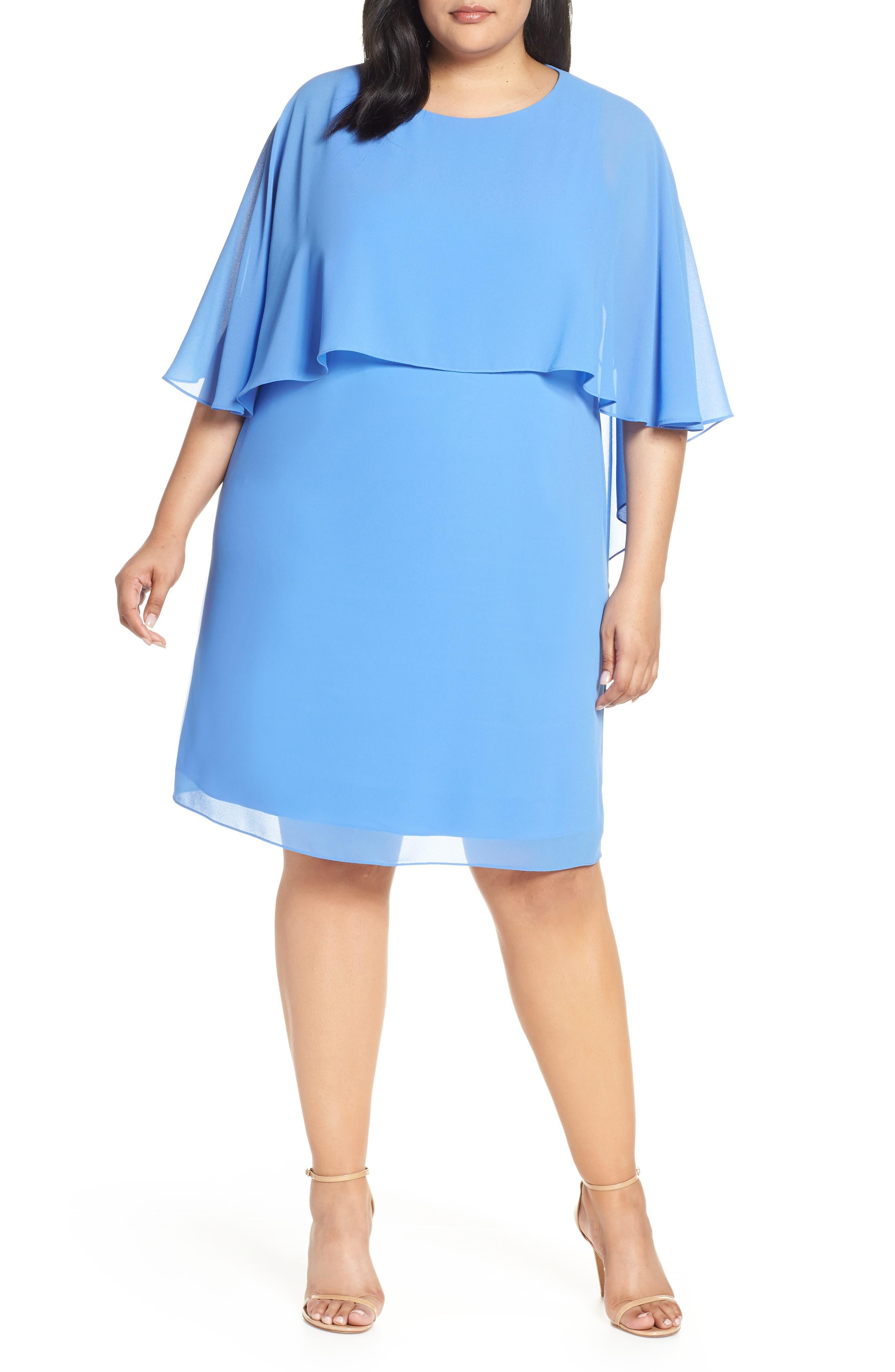 Plus Size Vince Camuto Chiffon Cape Sheath Dress, Blue